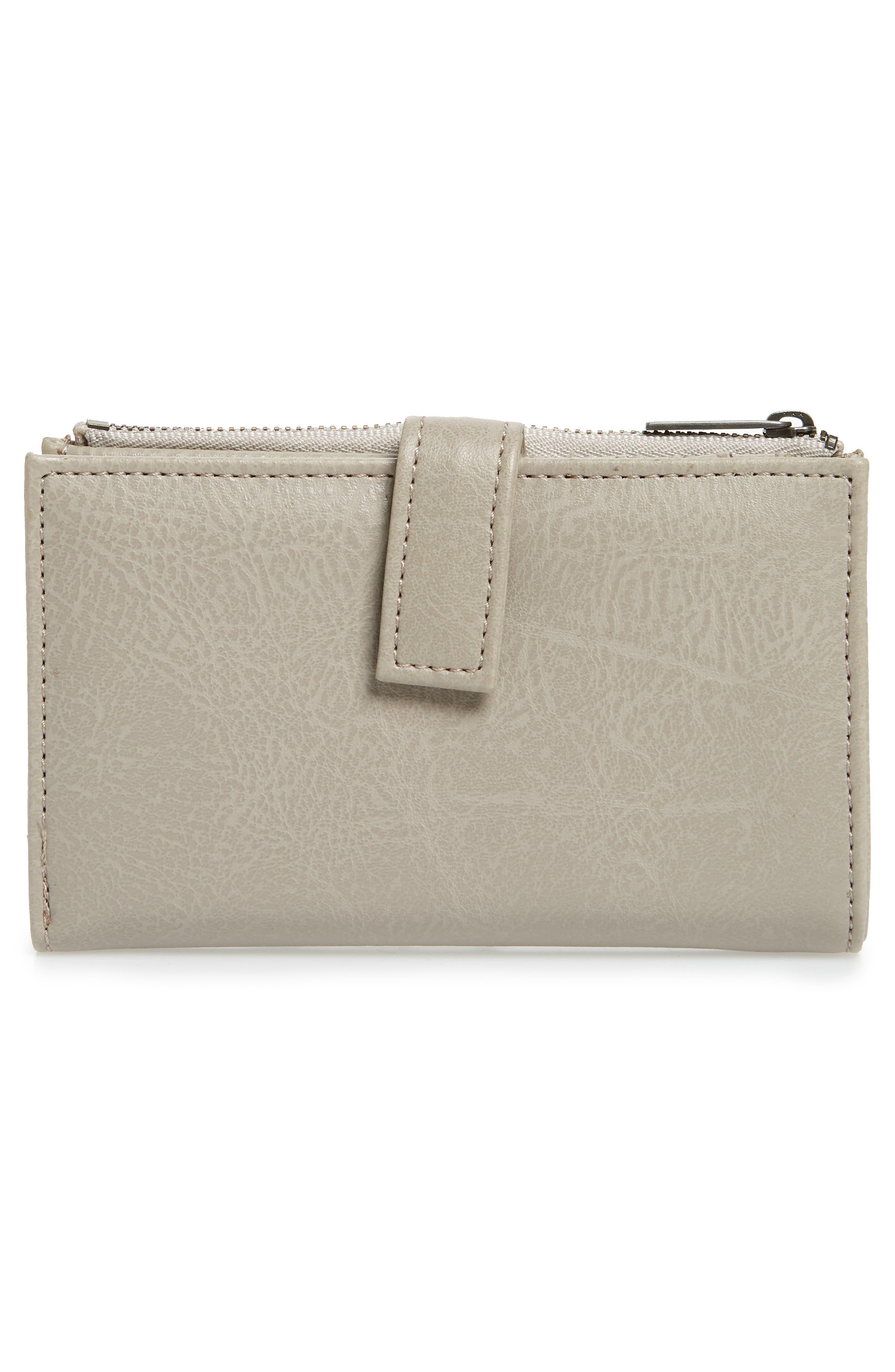 Small Motiv Faux Leather Wallet,                             Alternate thumbnail 4, color,                             CEMENT