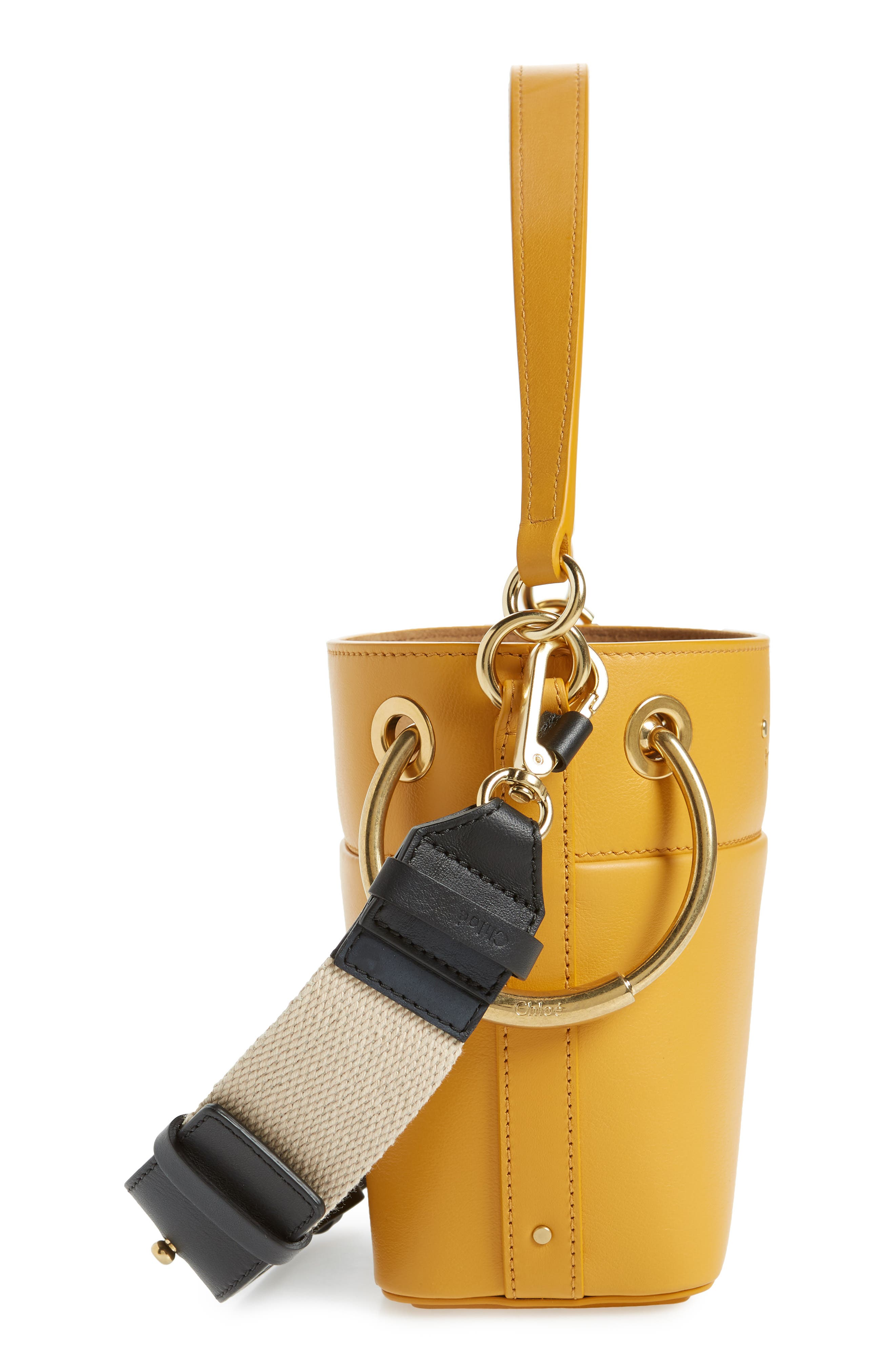 Roy Small Leather Bucket Bag,                             Alternate thumbnail 5, color,                             BURNING CAMEL