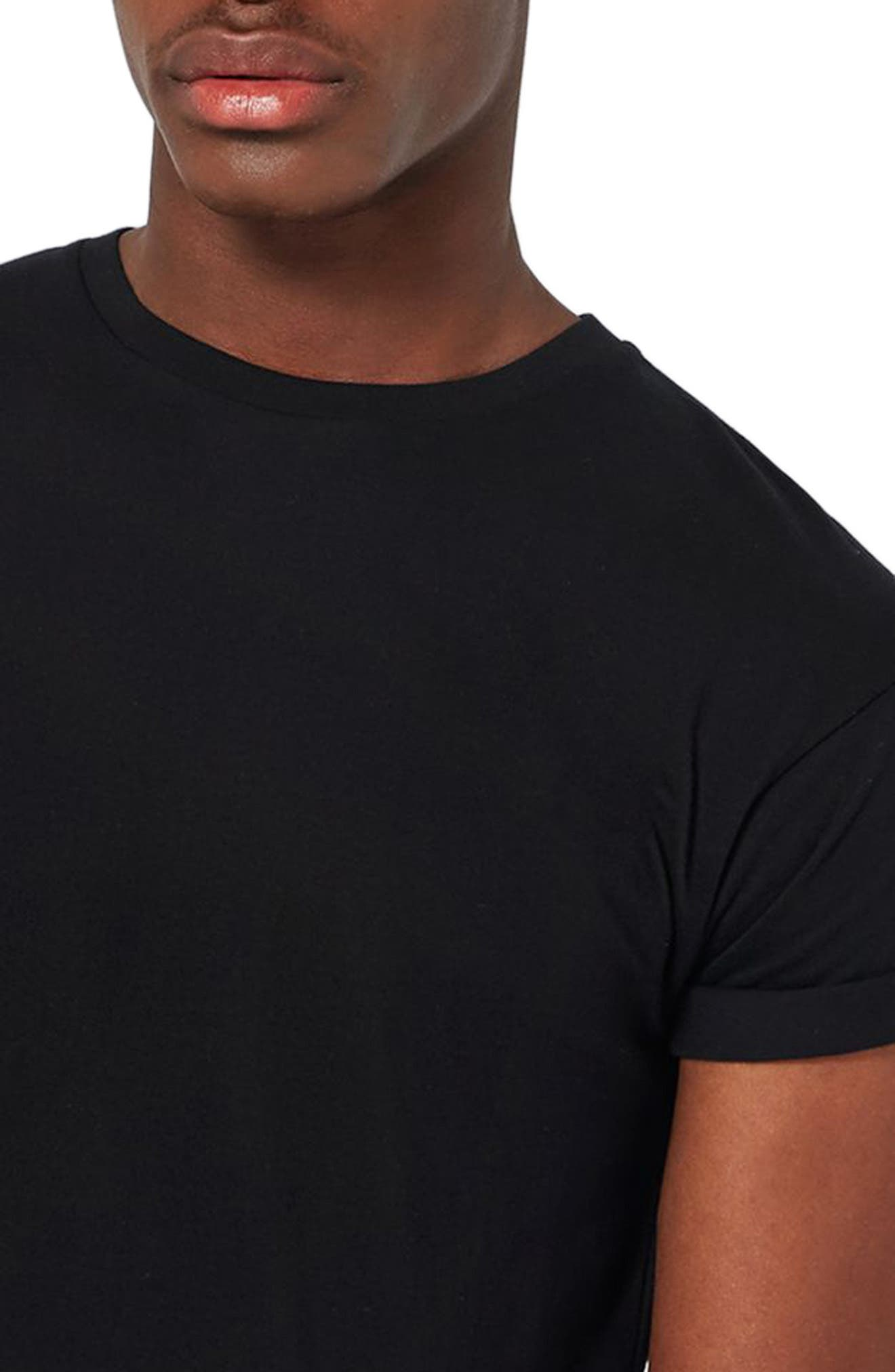 Muscle Fit Roller T-Shirt,                             Alternate thumbnail 3, color,                             001
