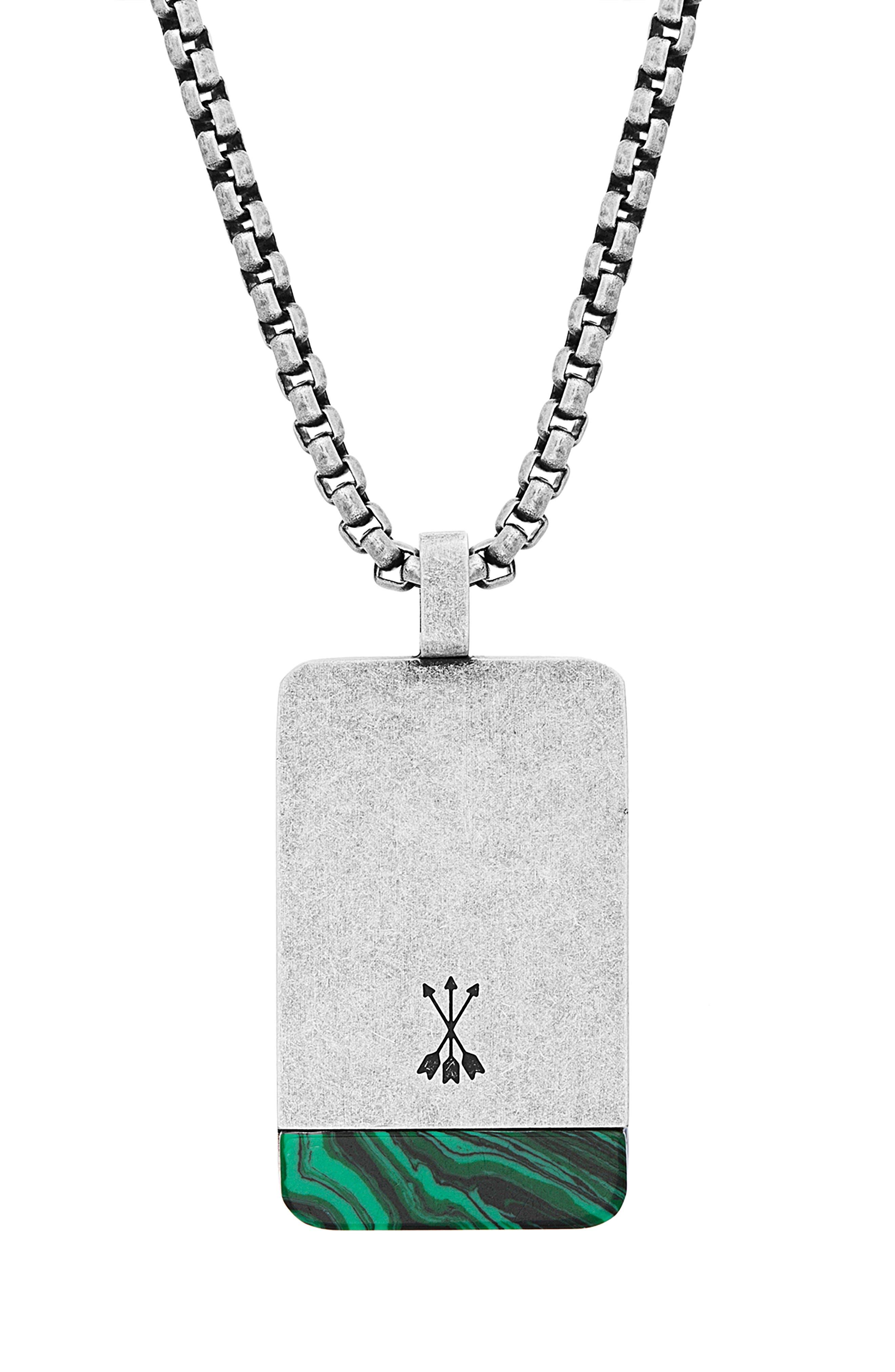 Dogtag Pendant Necklace,                             Alternate thumbnail 2, color,                             GREEN/ SILVER
