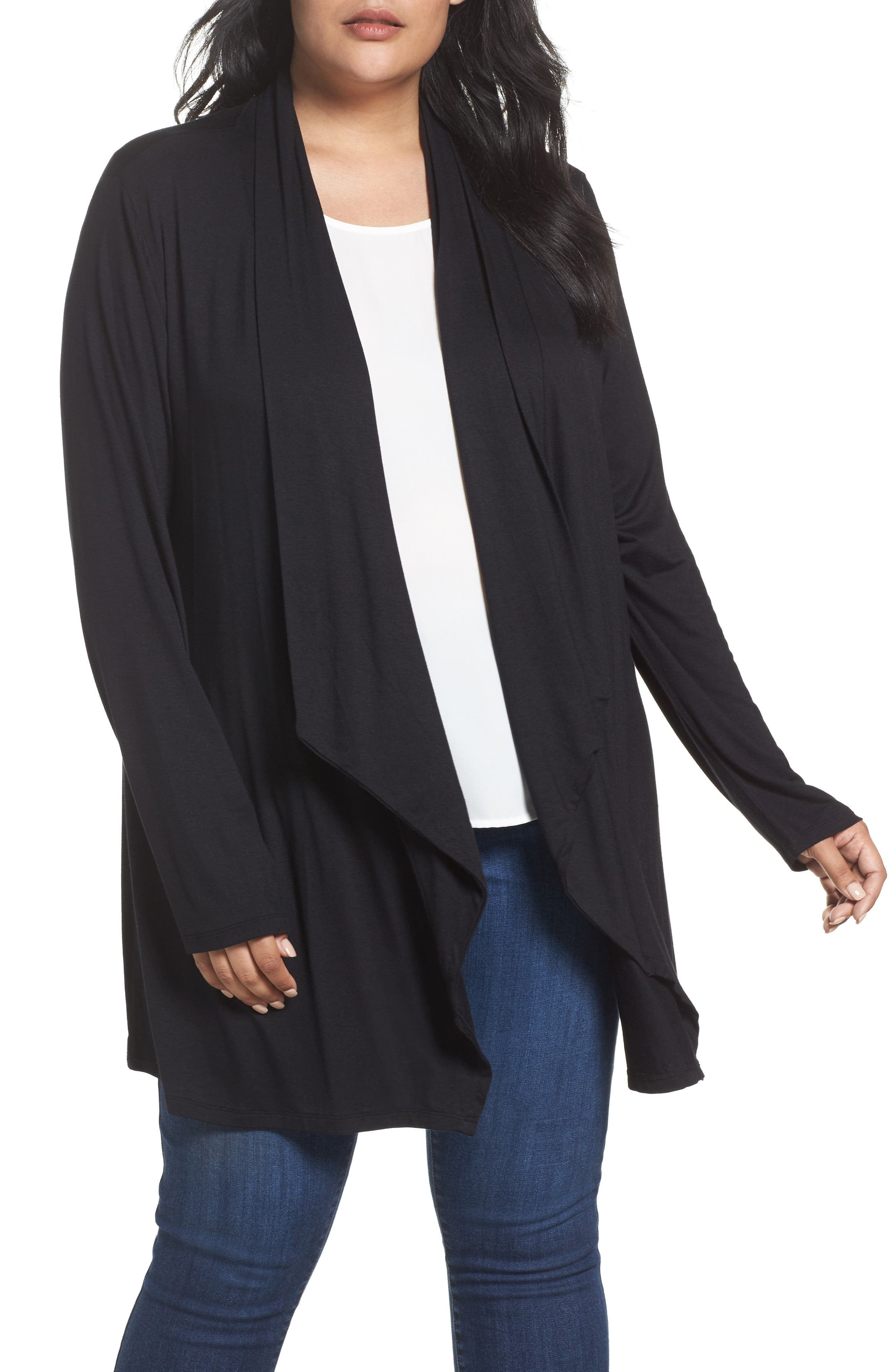 Waterfall Drape Front Cardigan,                             Main thumbnail 1, color,                             BLACK