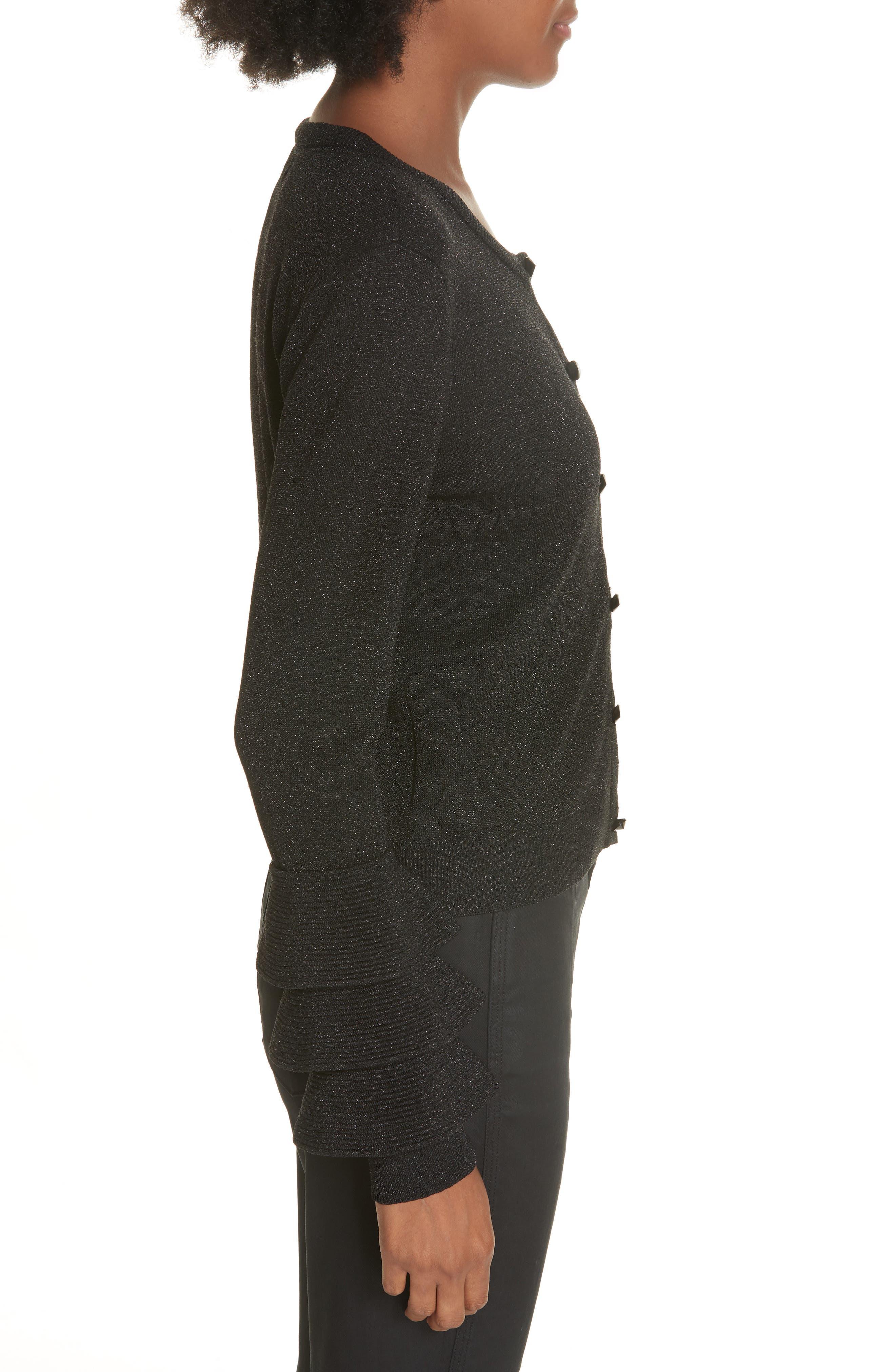 Ruthy Ruffle Cuff Sparkle Wool Blend Cardigan,                             Alternate thumbnail 3, color,                             BLACK METALLIC