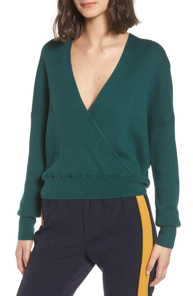 Rib Wrap Sweater, Main, color, GREEN BUG