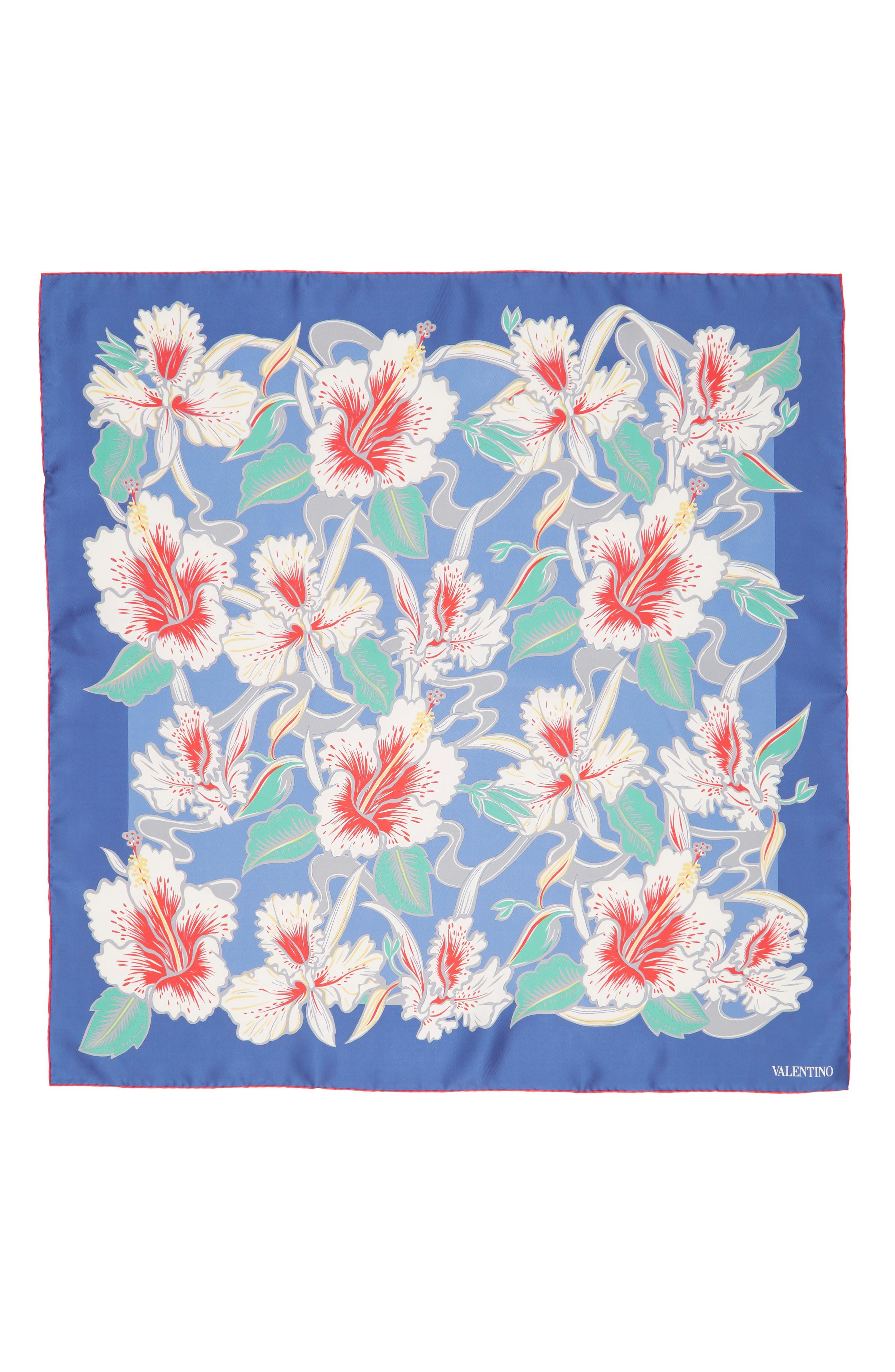 Hibiscus Silk Scarf,                             Alternate thumbnail 3, color,                             ANGEL