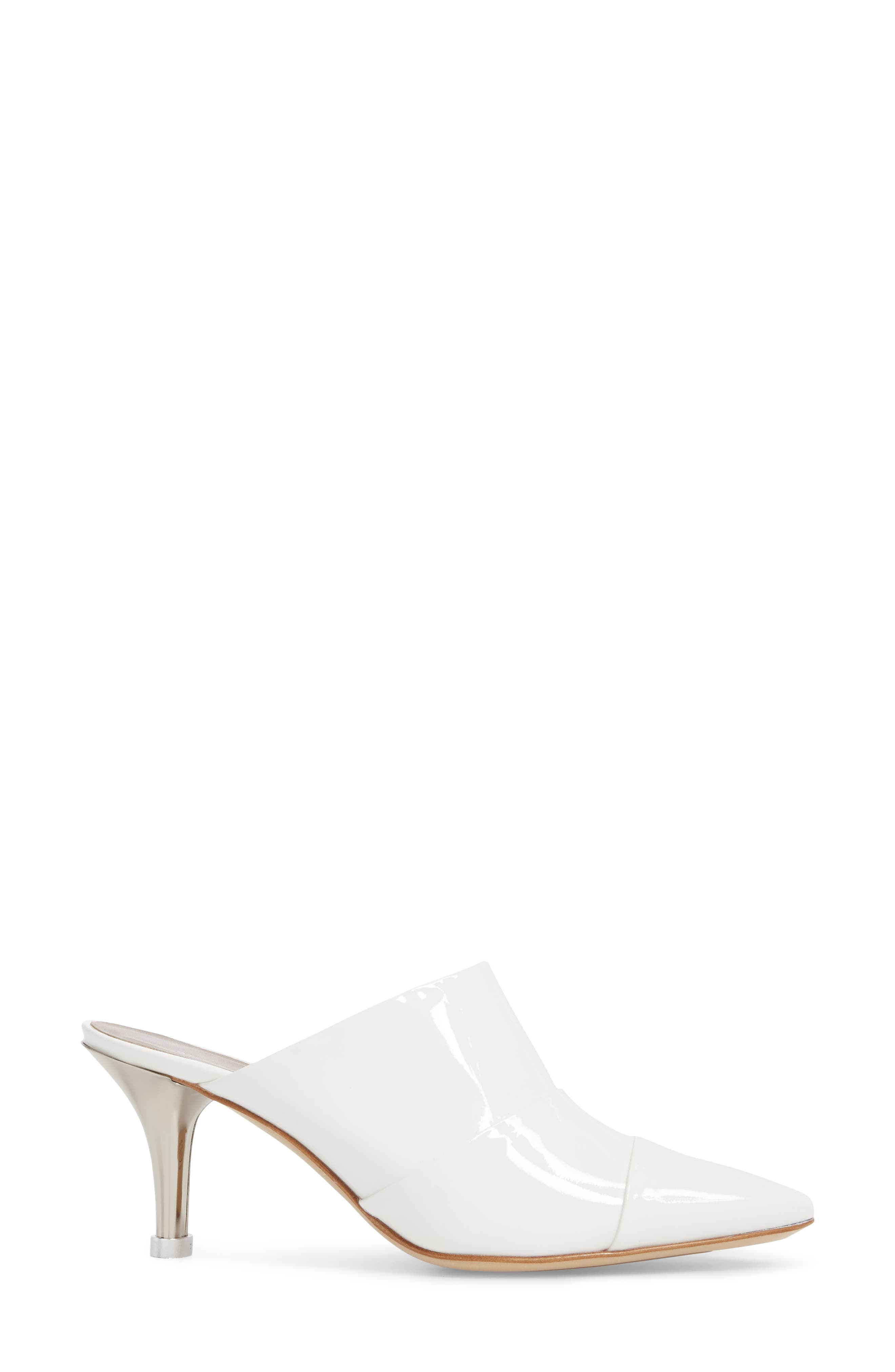 Pointy Toe Mule,                             Alternate thumbnail 3, color,                             WHITE PATENT