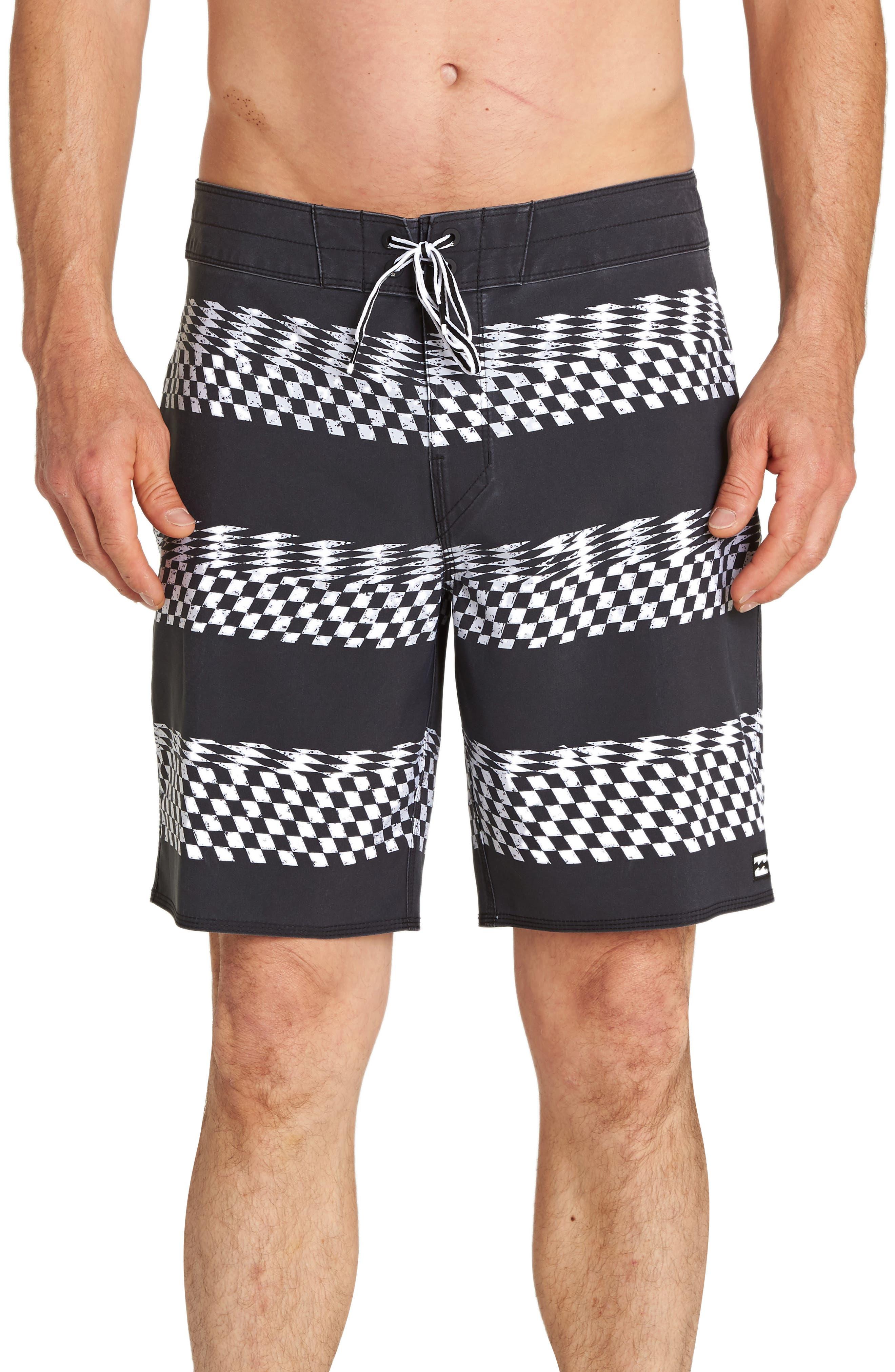 Sundays X-Stripe Board Shorts,                             Main thumbnail 1, color,                             BLACK