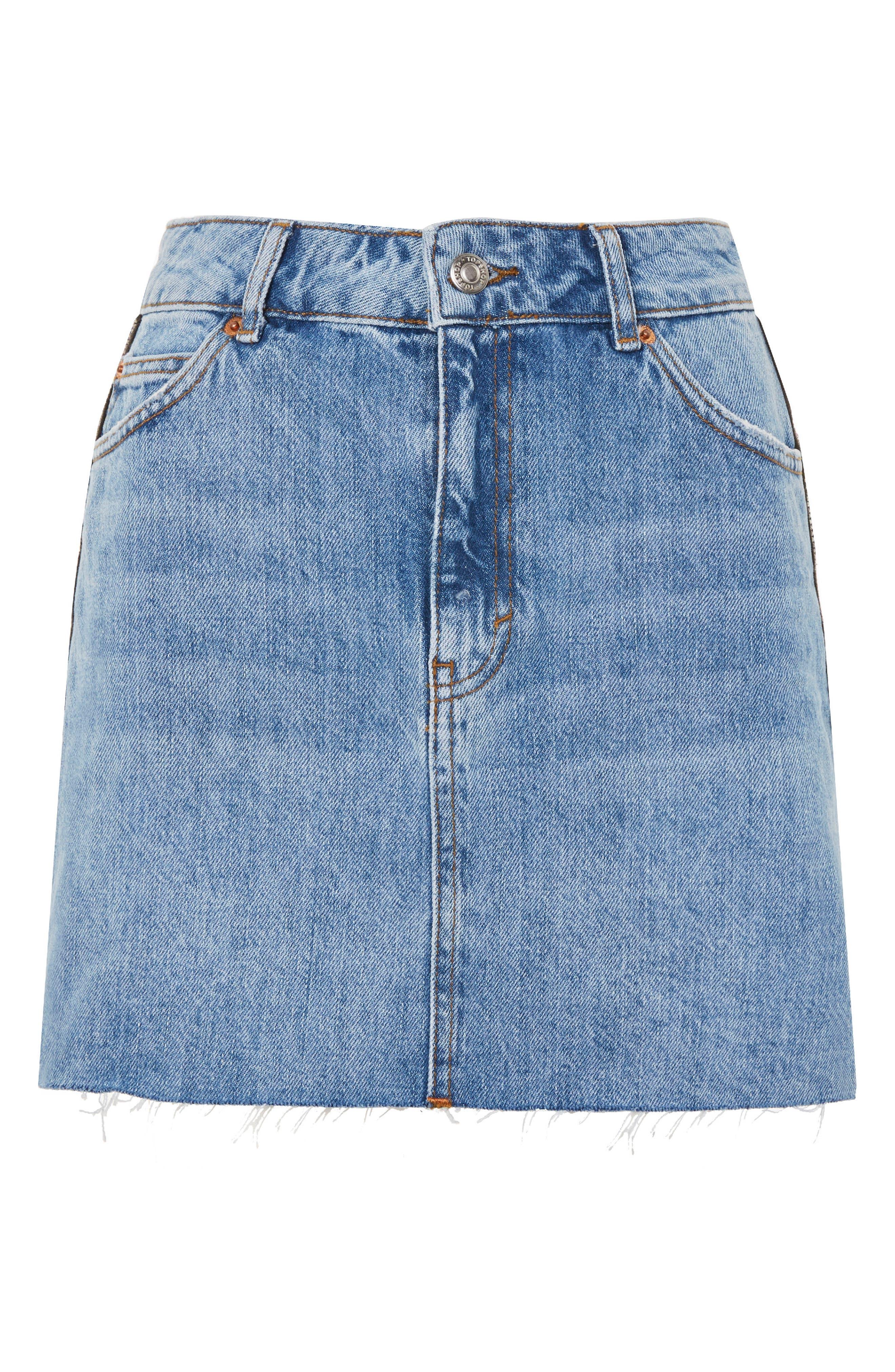 Diamante Stripe Denim Skirt,                             Alternate thumbnail 3, color,