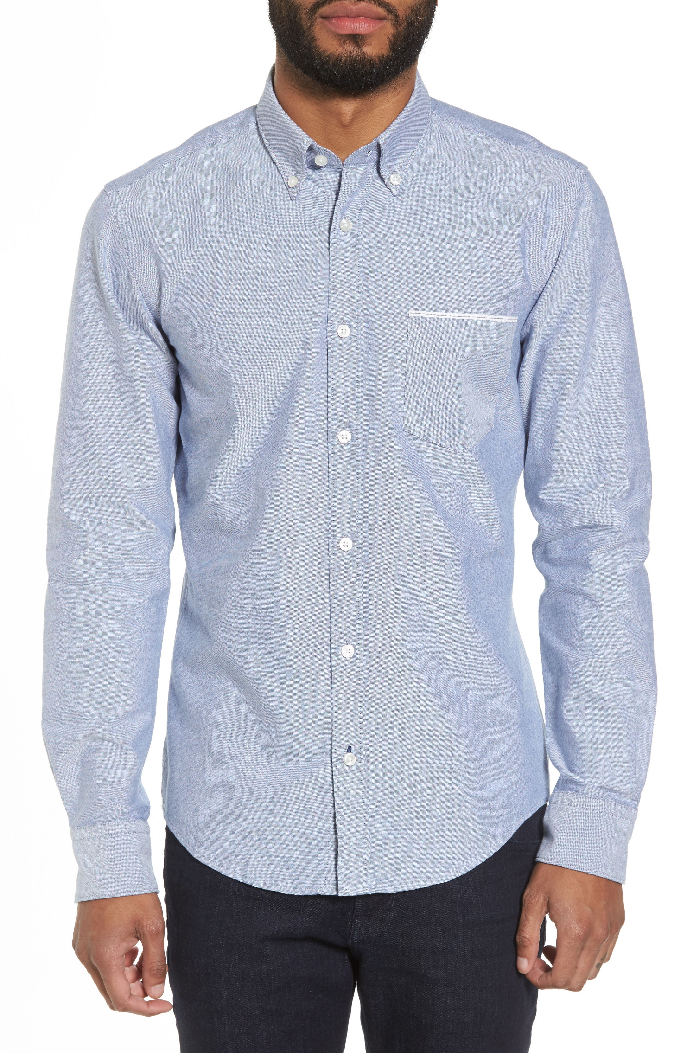 BOSS Rod Trim Fit Solid Sport Shirt, Main, color, 403