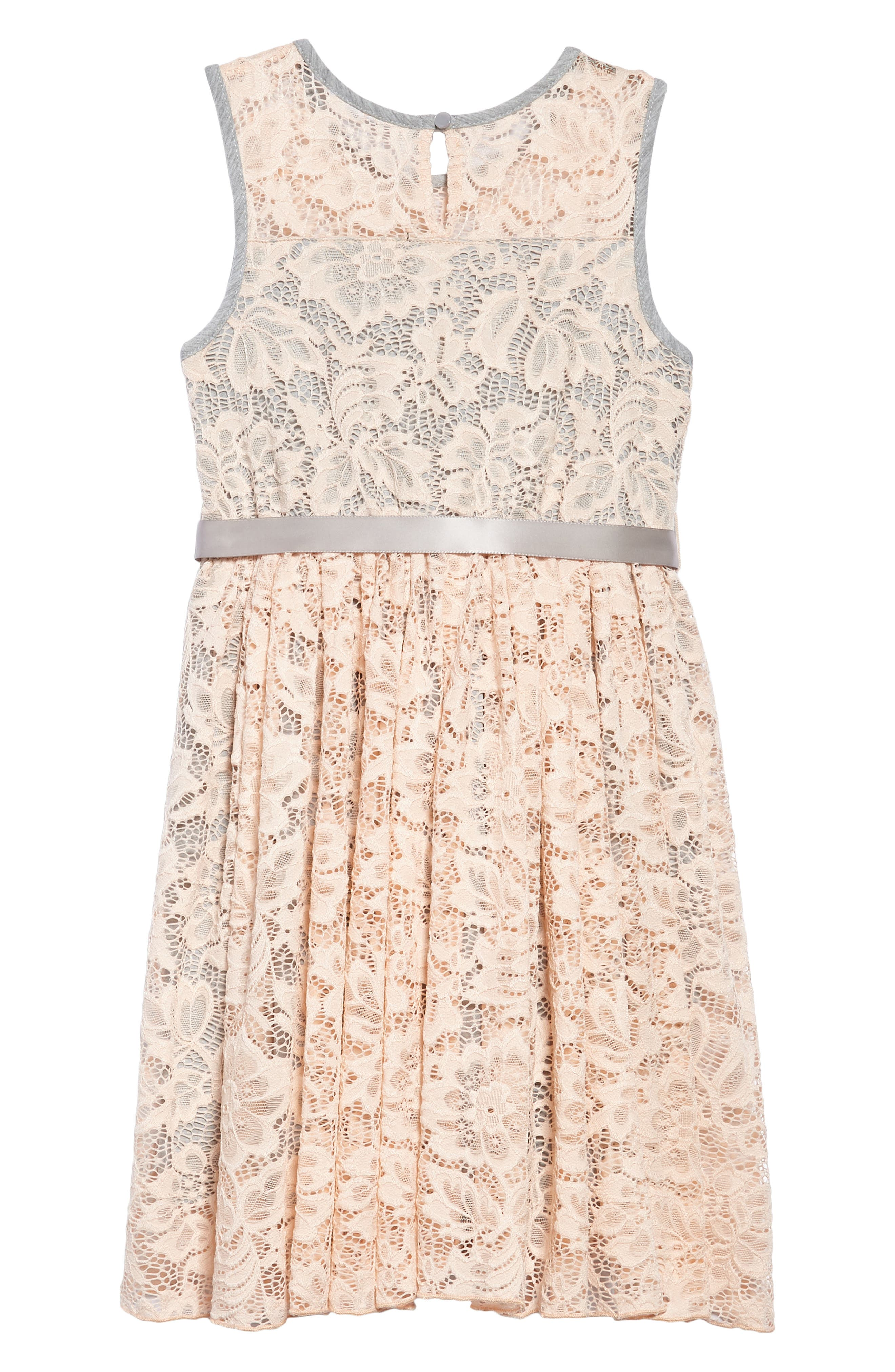 Sleeveless Floral Lace Dress,                             Alternate thumbnail 2, color,                             685