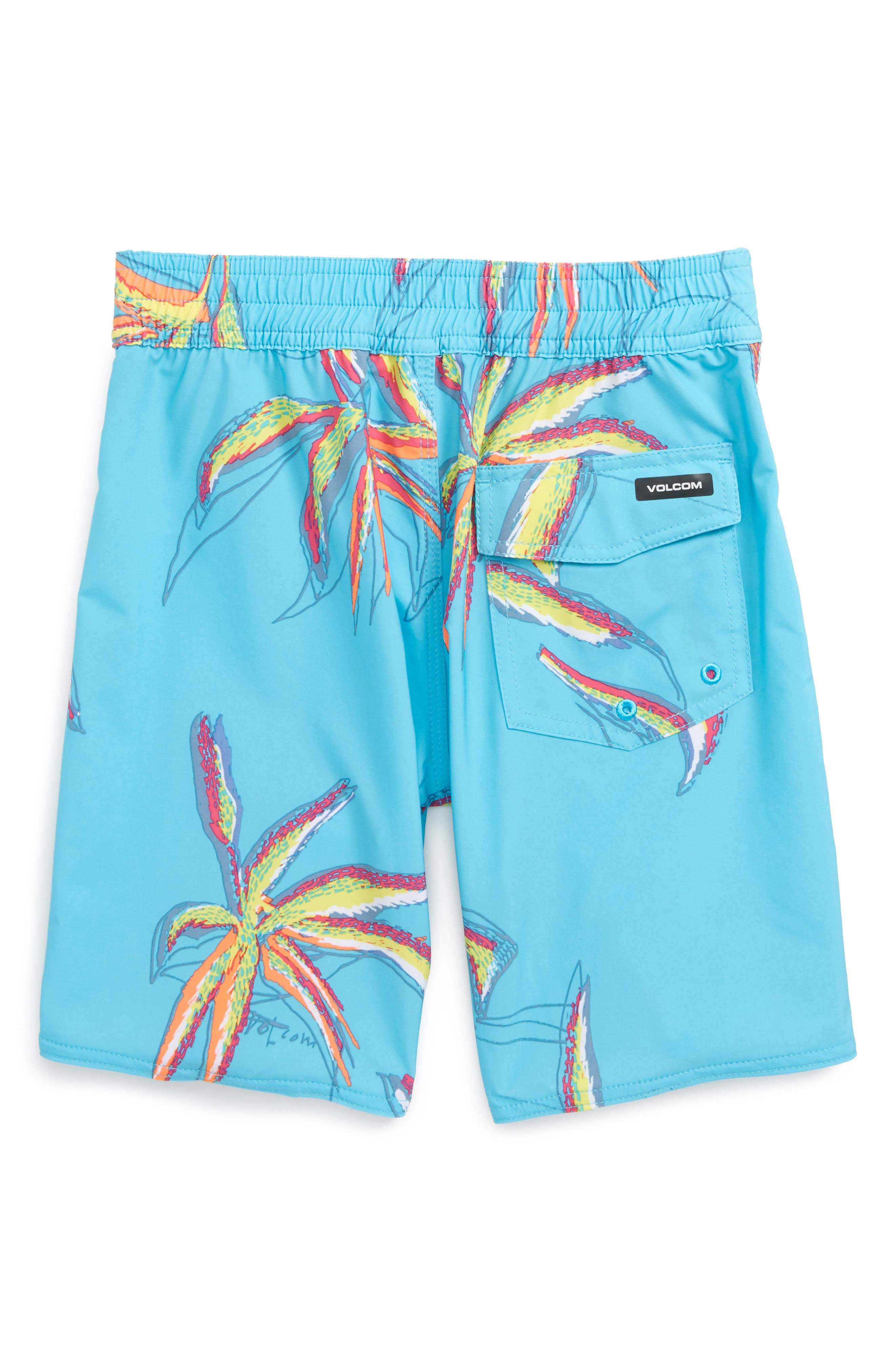 Tropical Print Board Shorts,                             Alternate thumbnail 2, color,                             DUSTY AQUA