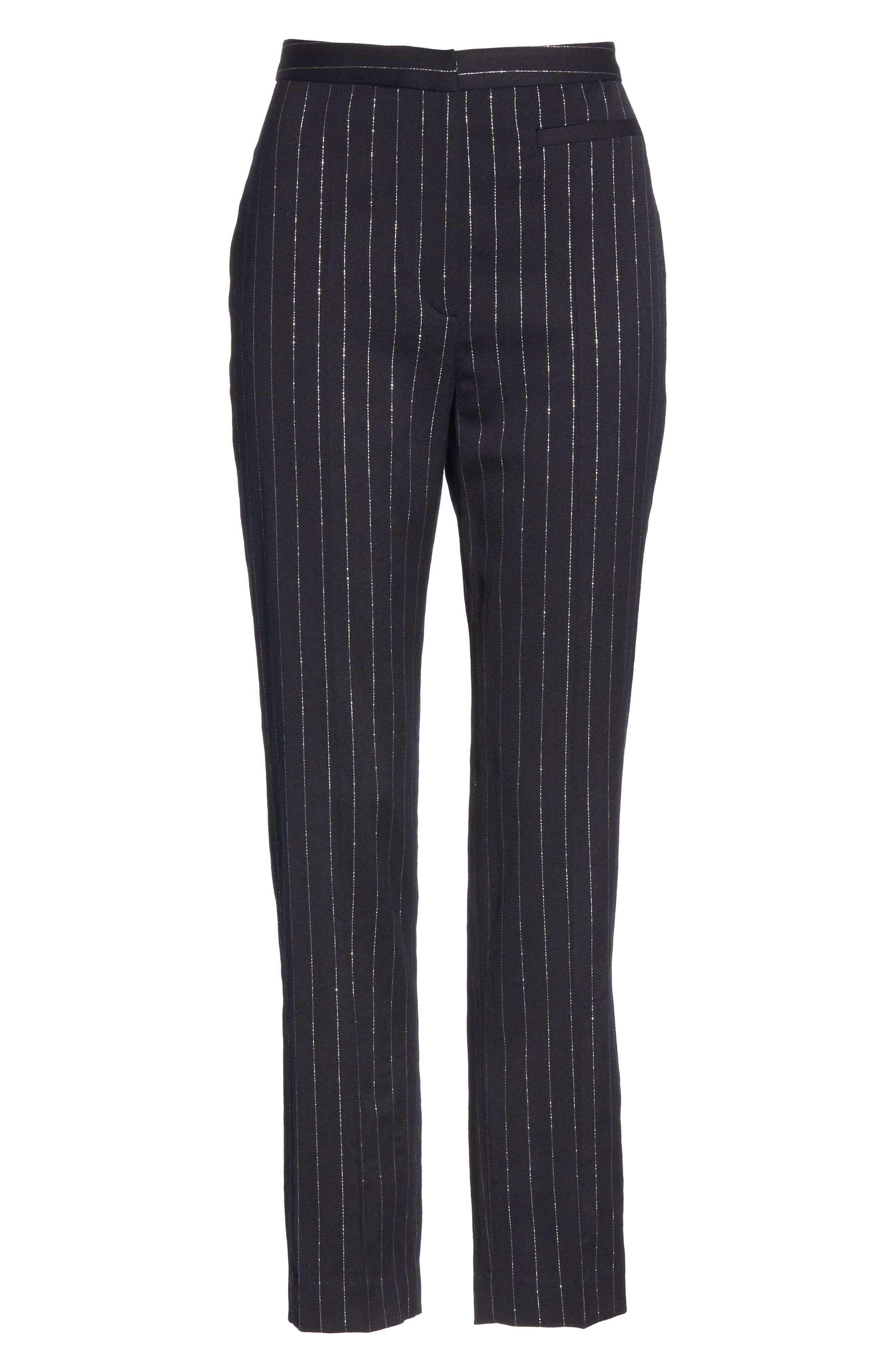 Metallic Pinstripe High Waist Skinny Wool Pants,                             Alternate thumbnail 7, color,                             BLACK