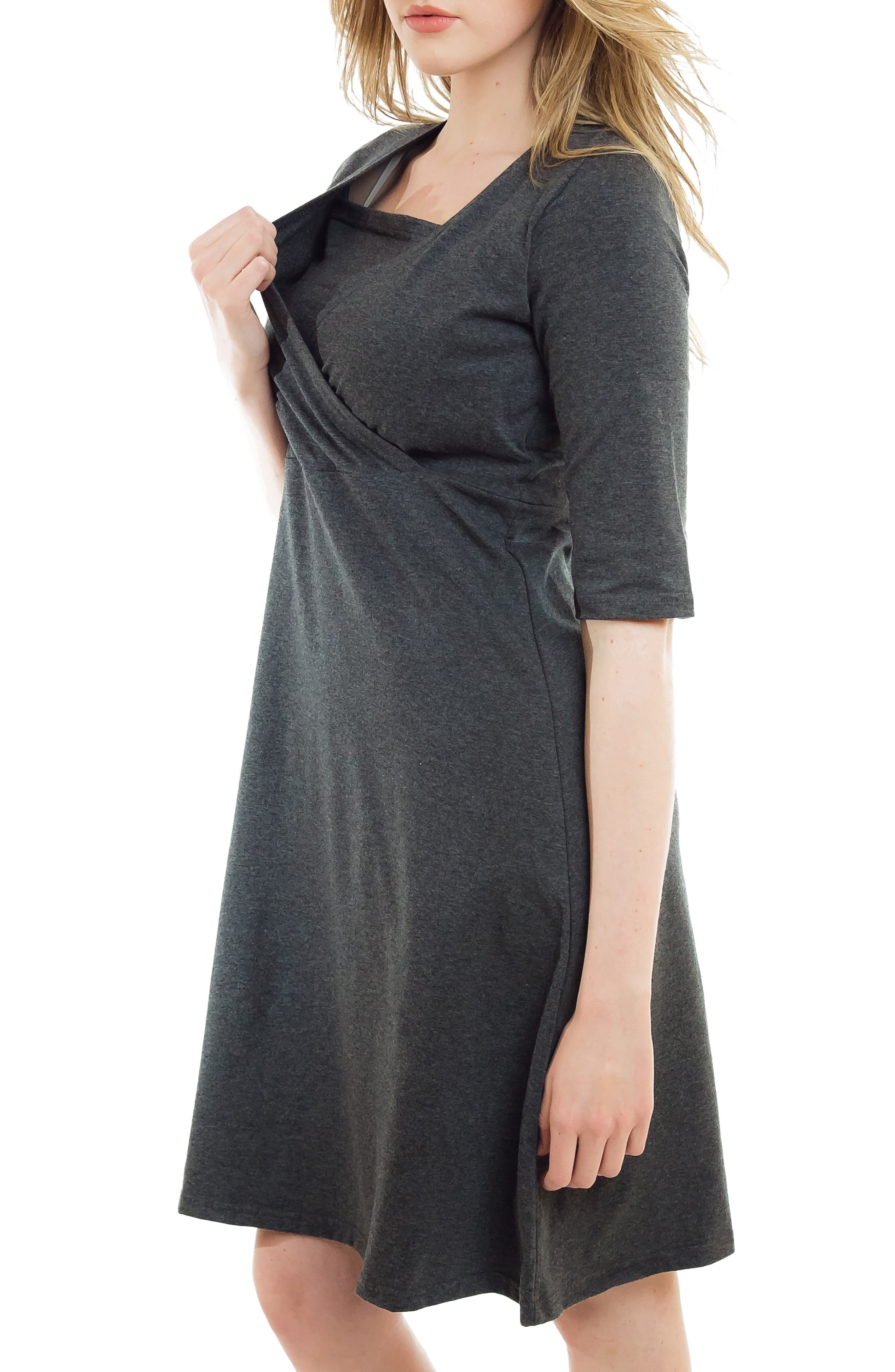 Crossover Maternity/Nursing Dress,                             Alternate thumbnail 3, color,                             HEATHER CHARCOAL