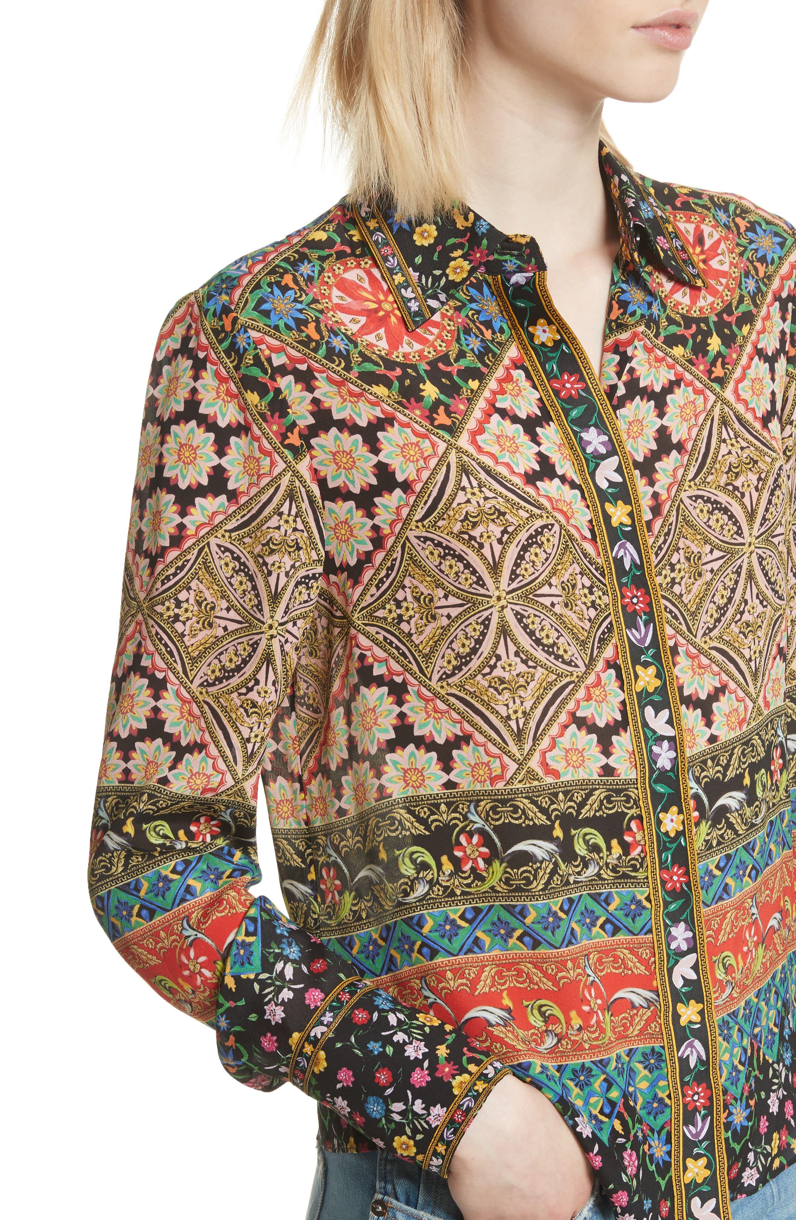 Patchwork Print Silk Shirt,                             Alternate thumbnail 4, color,