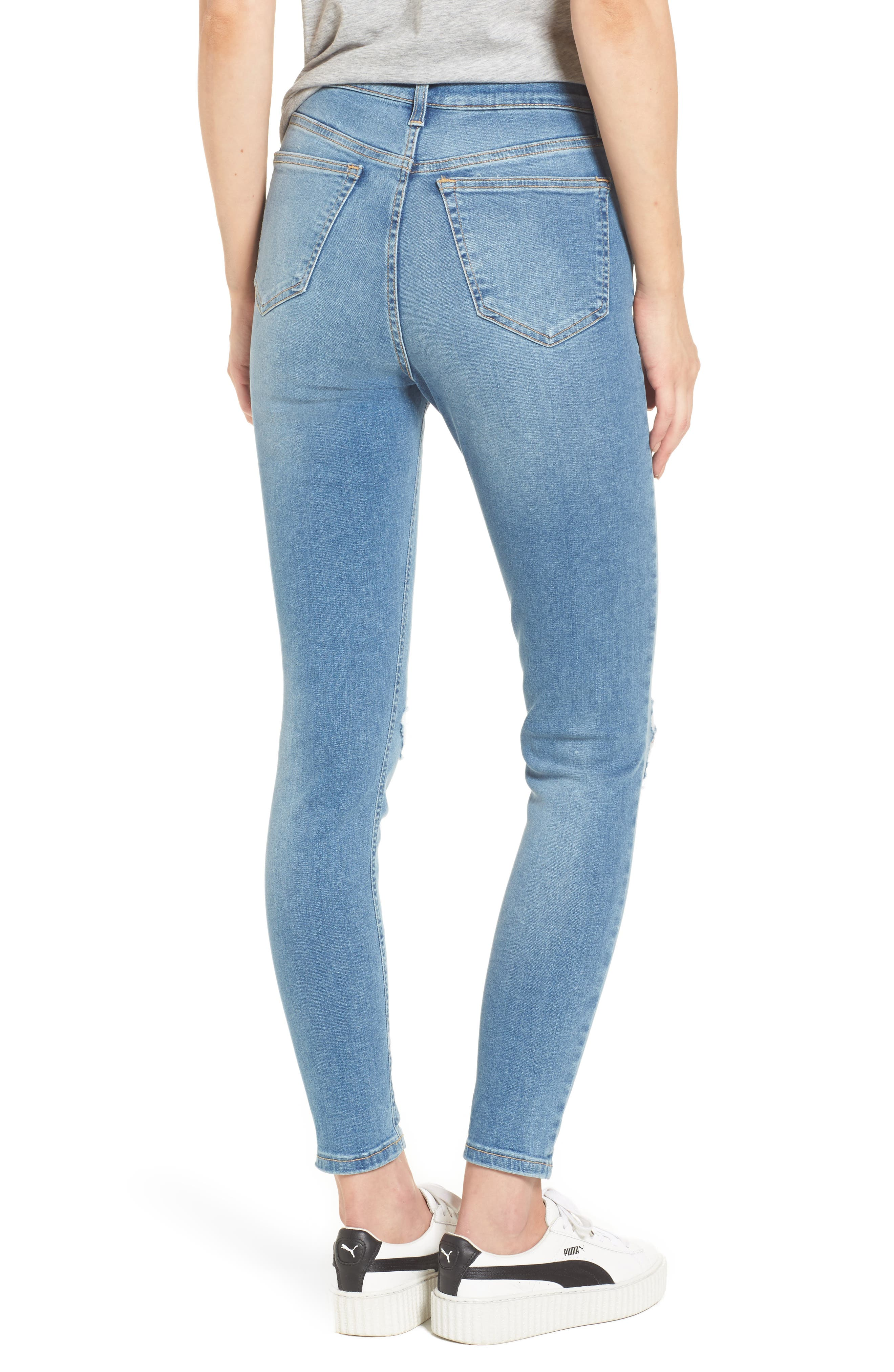Moto Jamie Ripped High Waist Ankle Skinny Jeans,                             Alternate thumbnail 2, color,                             400