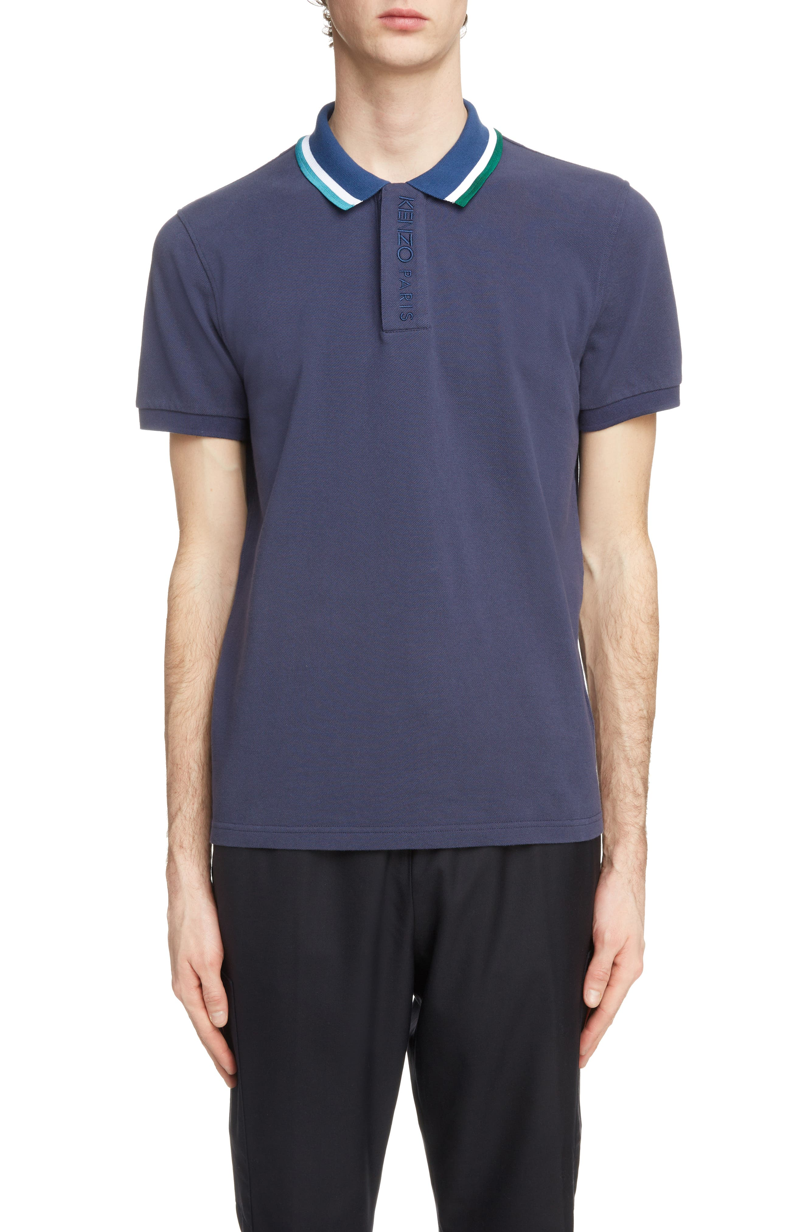 Placket Embroidered Tipped Piqué Polo,                             Main thumbnail 1, color,                             INK