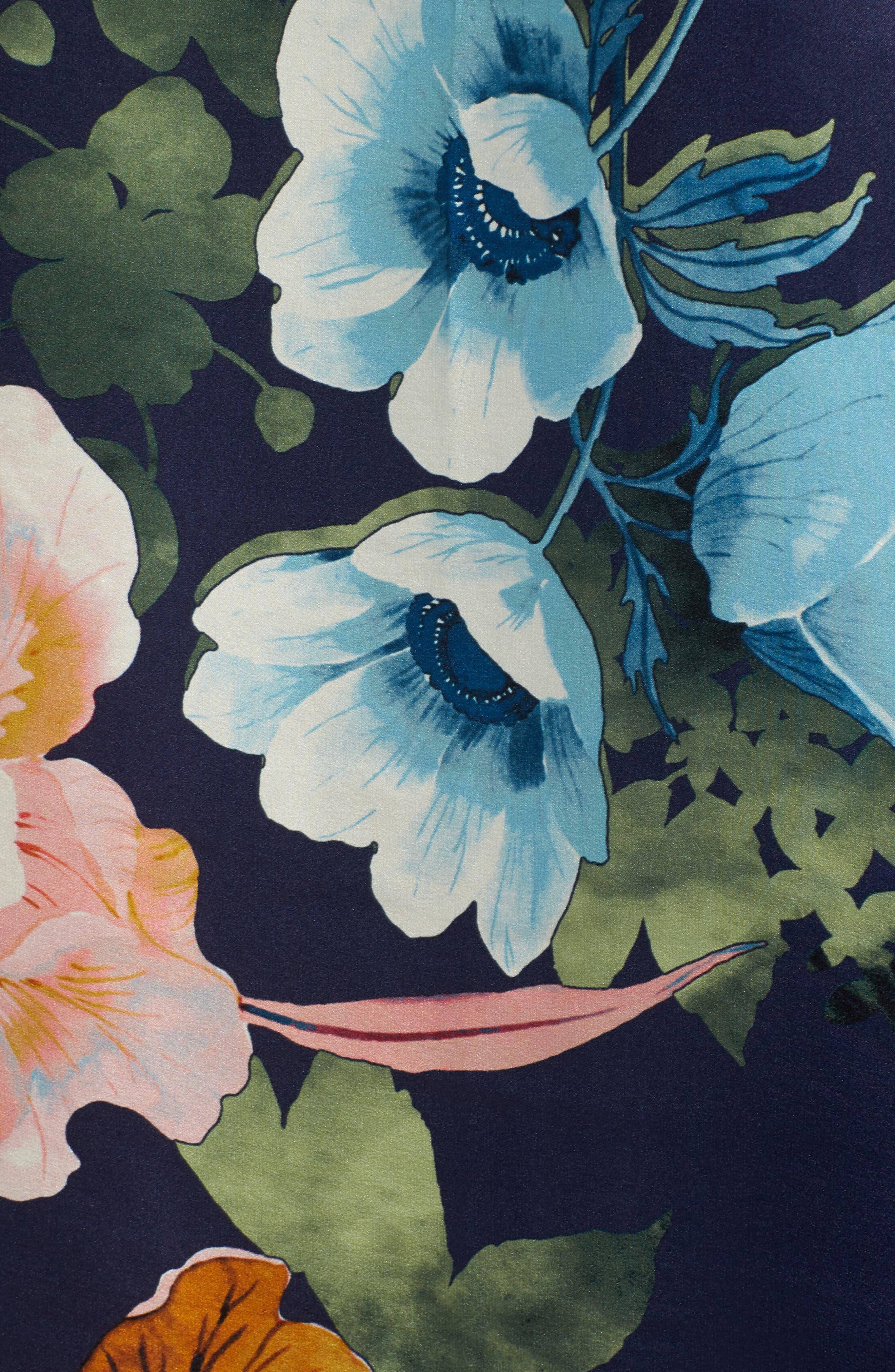 Flower Print Silk Wrap,                             Alternate thumbnail 5, color,                             410