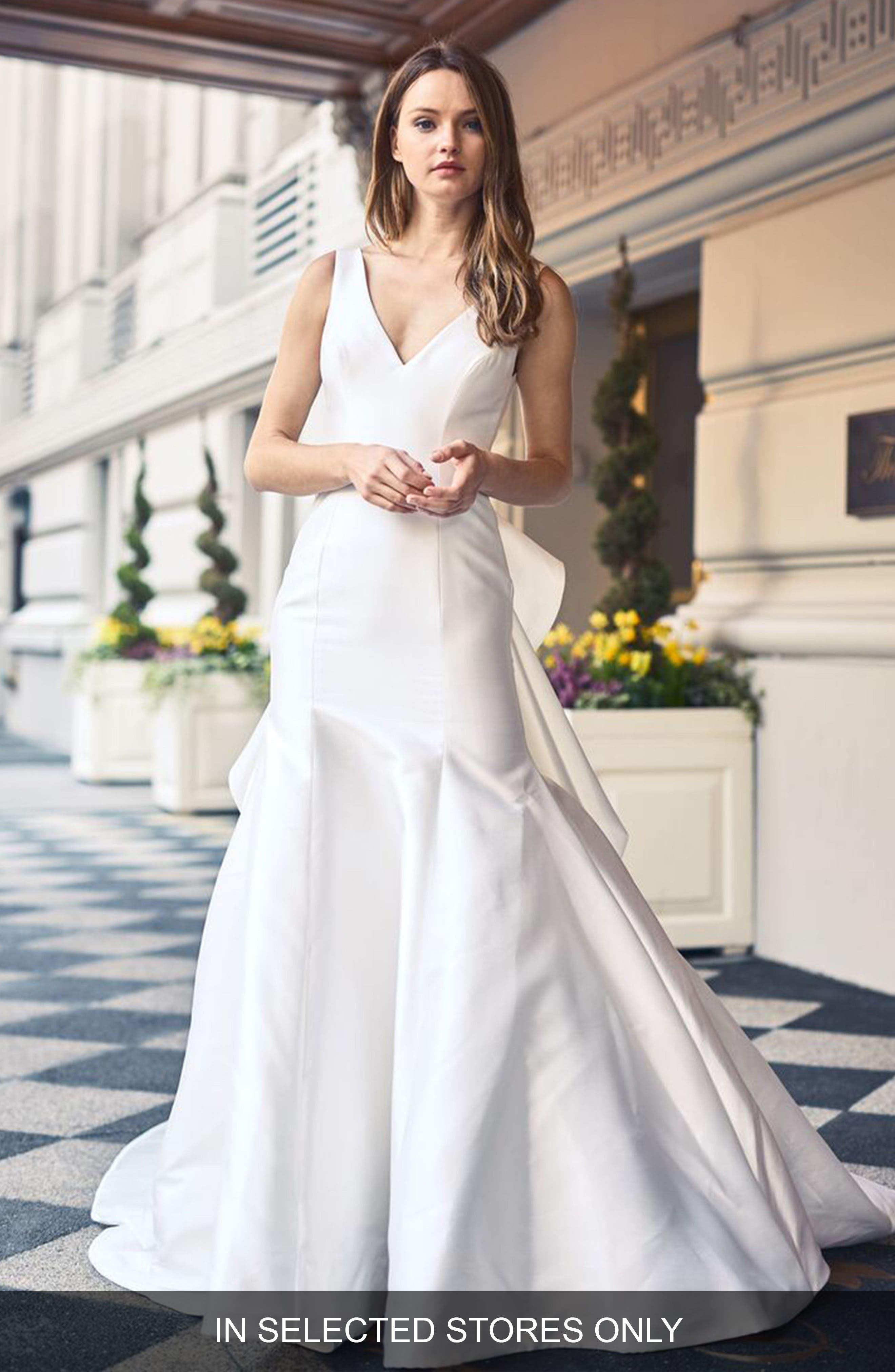 V-Neck Mikado & Tulle Gown,                         Main,                         color, SILK WHITE