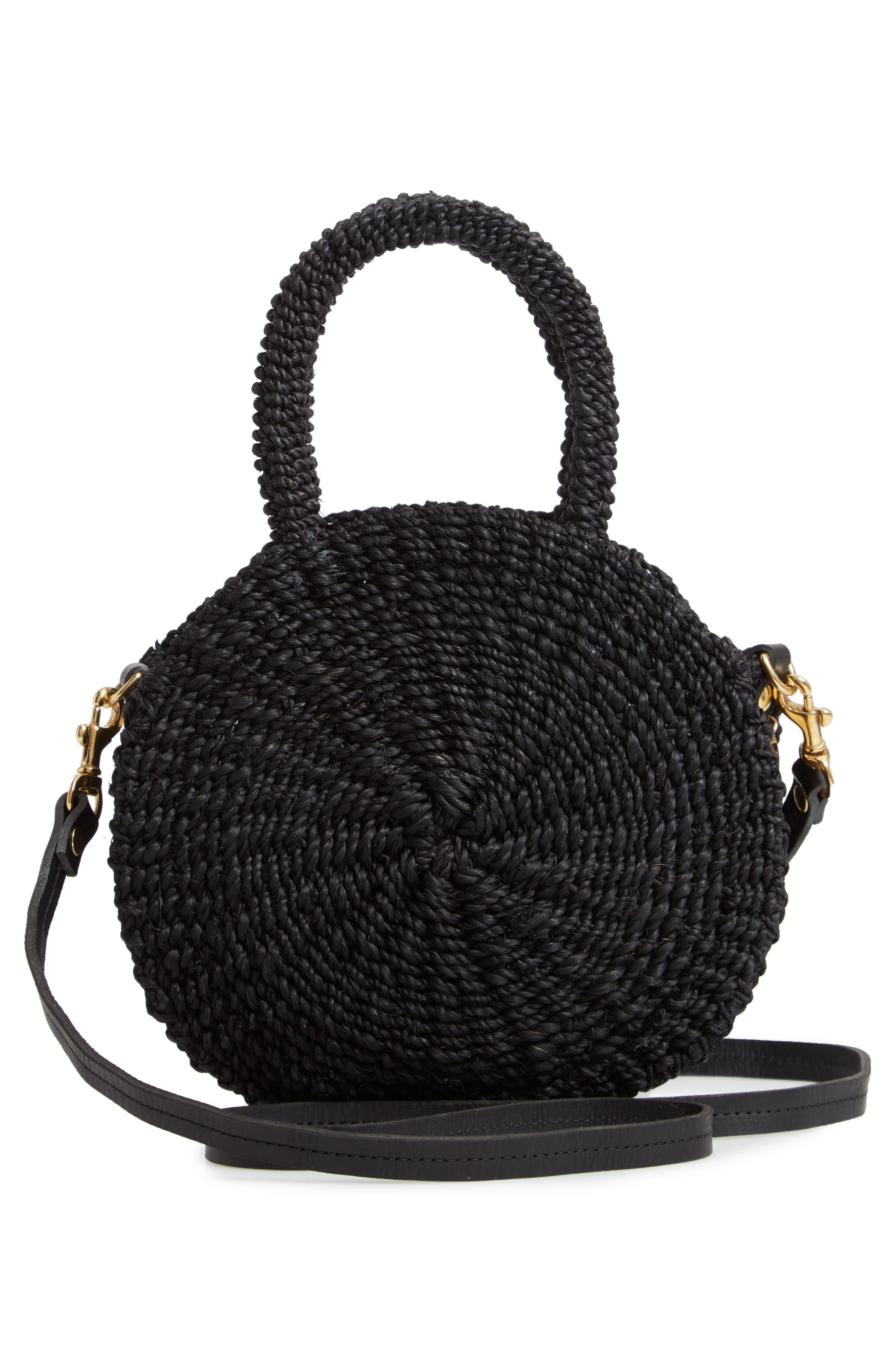 Petite Alice Straw Bag,                             Alternate thumbnail 3, color,                             BLACK