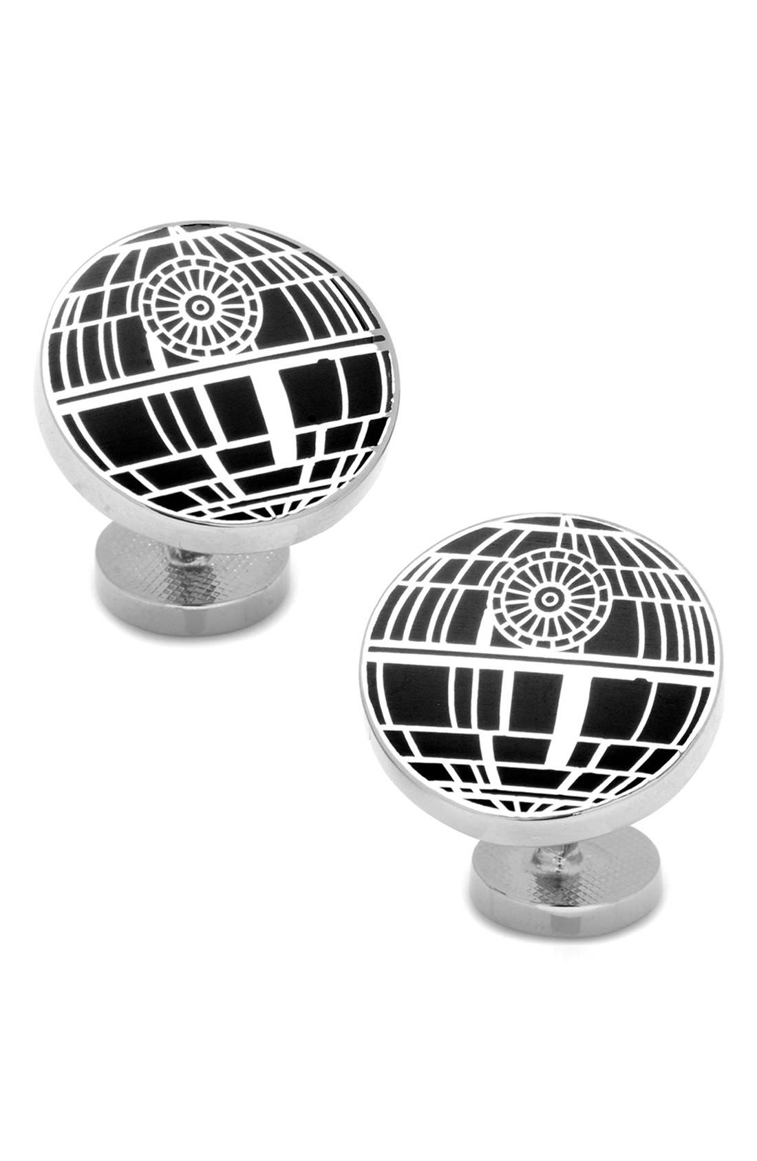 'Star Wars<sup>™</sup> - Death Star' Cuff Links,                         Main,                         color, BLACK/ SILVER