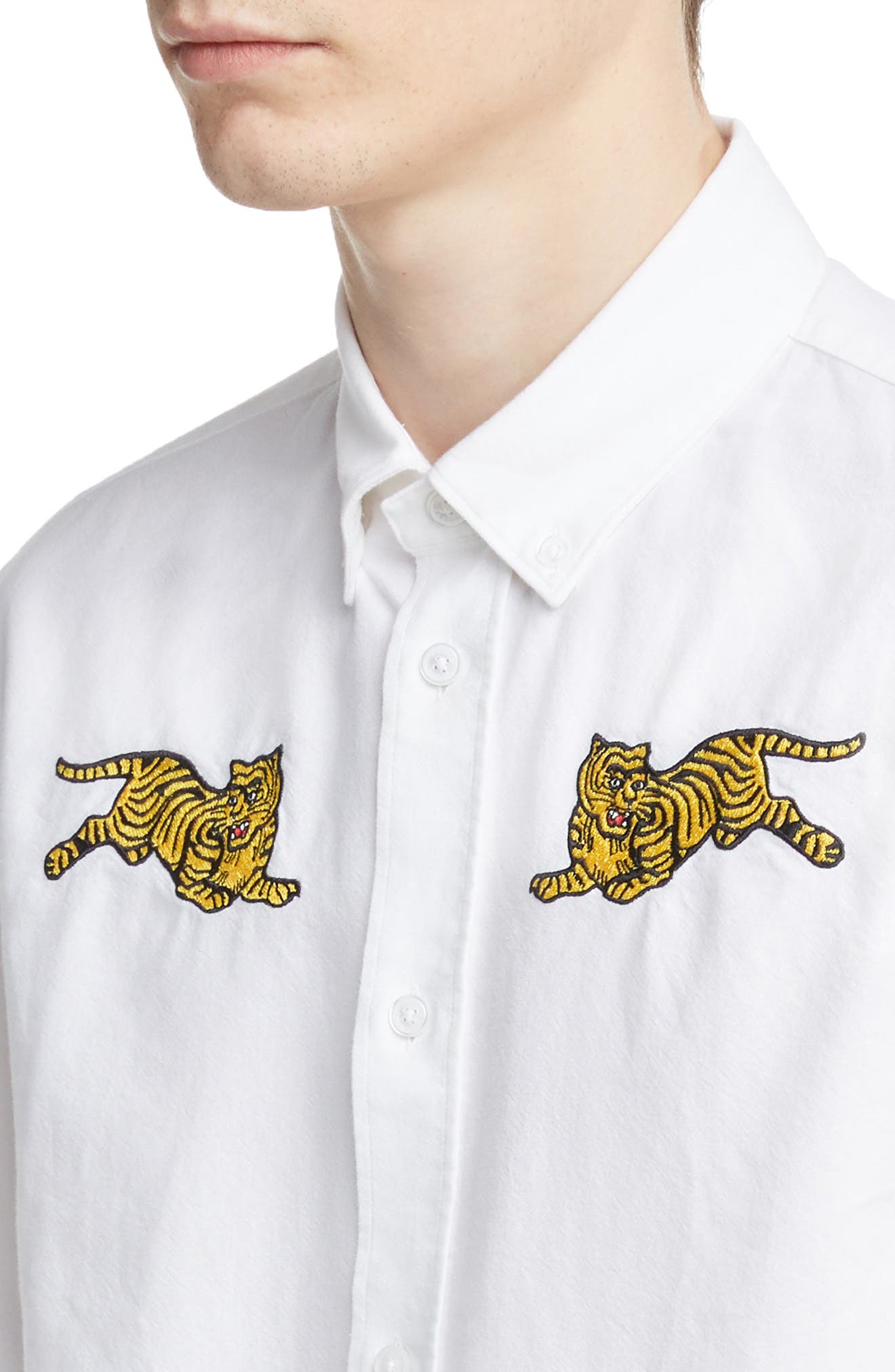 KENZO,                             Jumping Tiger Crest Woven Shirt,                             Alternate thumbnail 2, color,                             WHITE