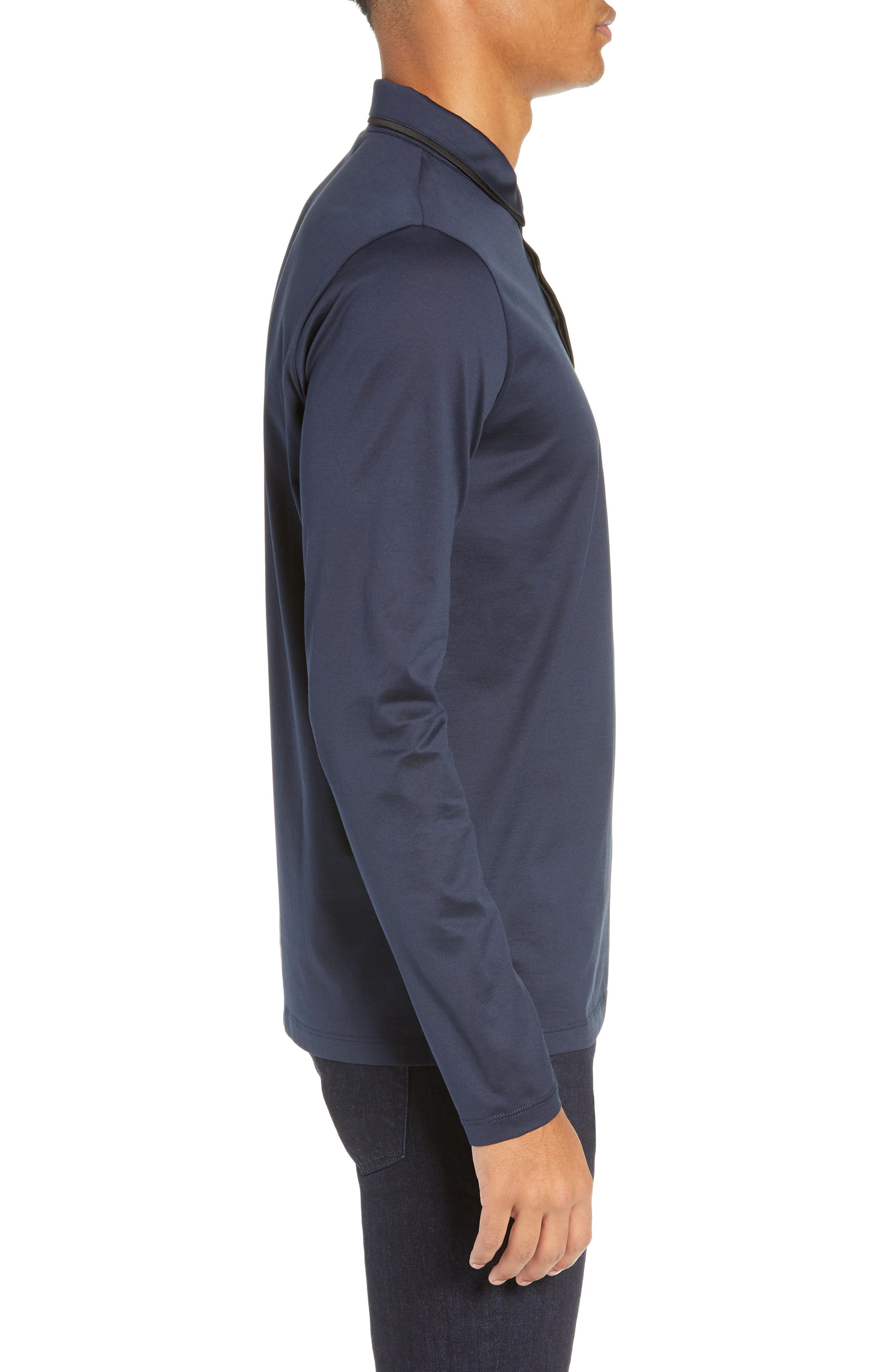 Dalendar Mercerized Cotton Slim Fit Polo Shirt,                             Alternate thumbnail 3, color,                             BLUE