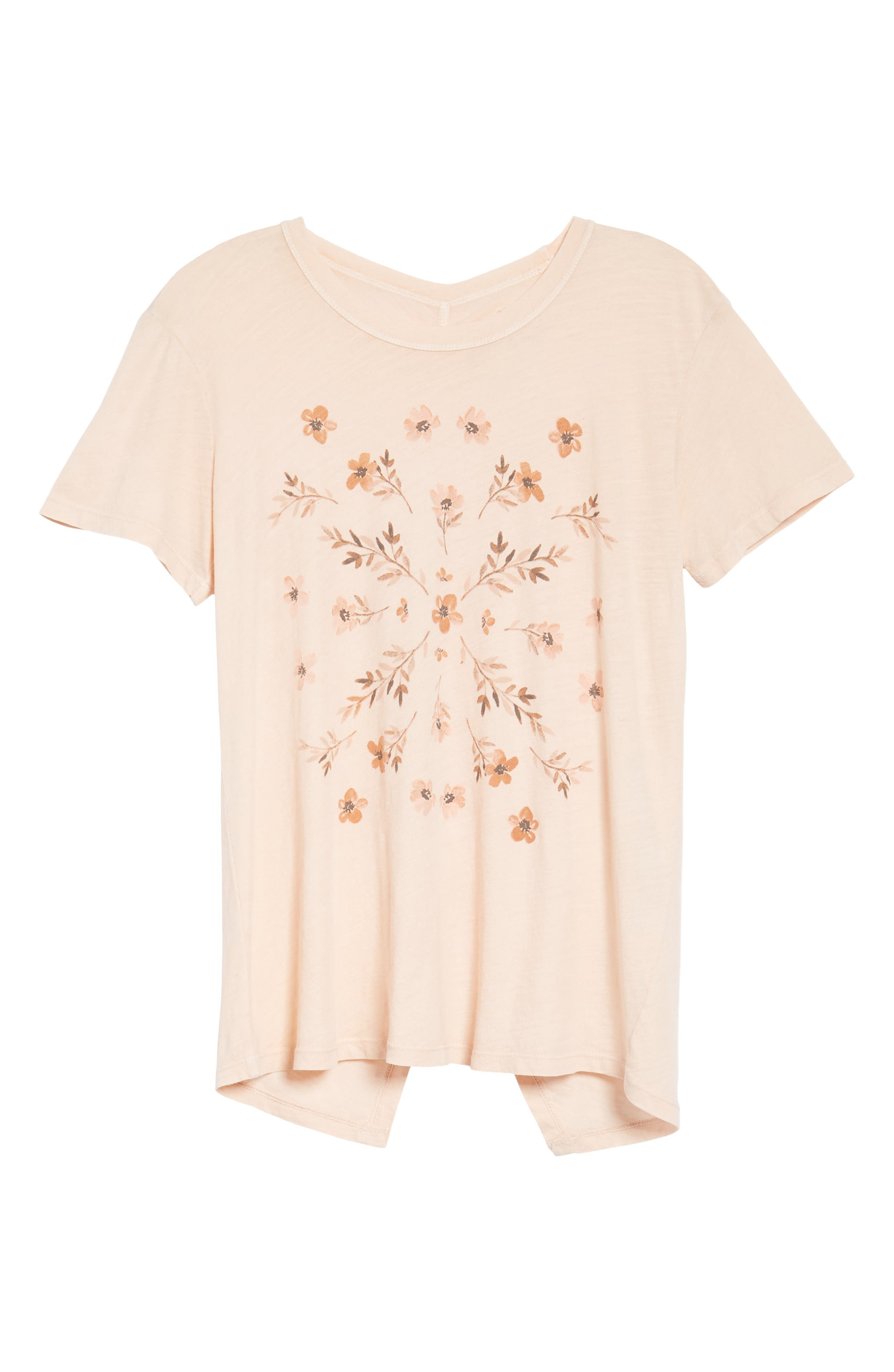 Stamp Flowers Cotton Tee,                             Alternate thumbnail 6, color,                             148