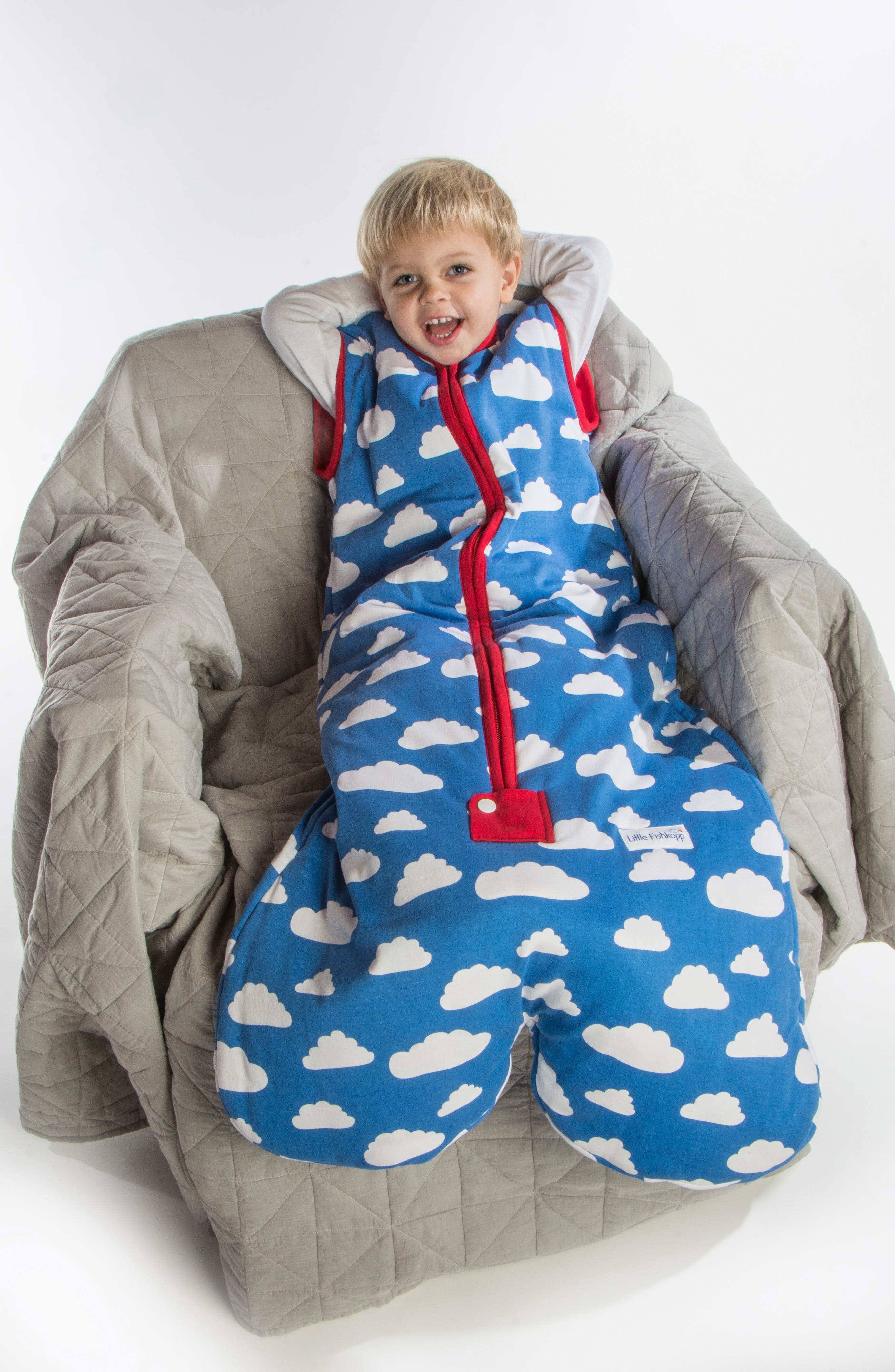 Clouds Organic Cotton Wearable Blanket,                             Alternate thumbnail 6, color,                             400
