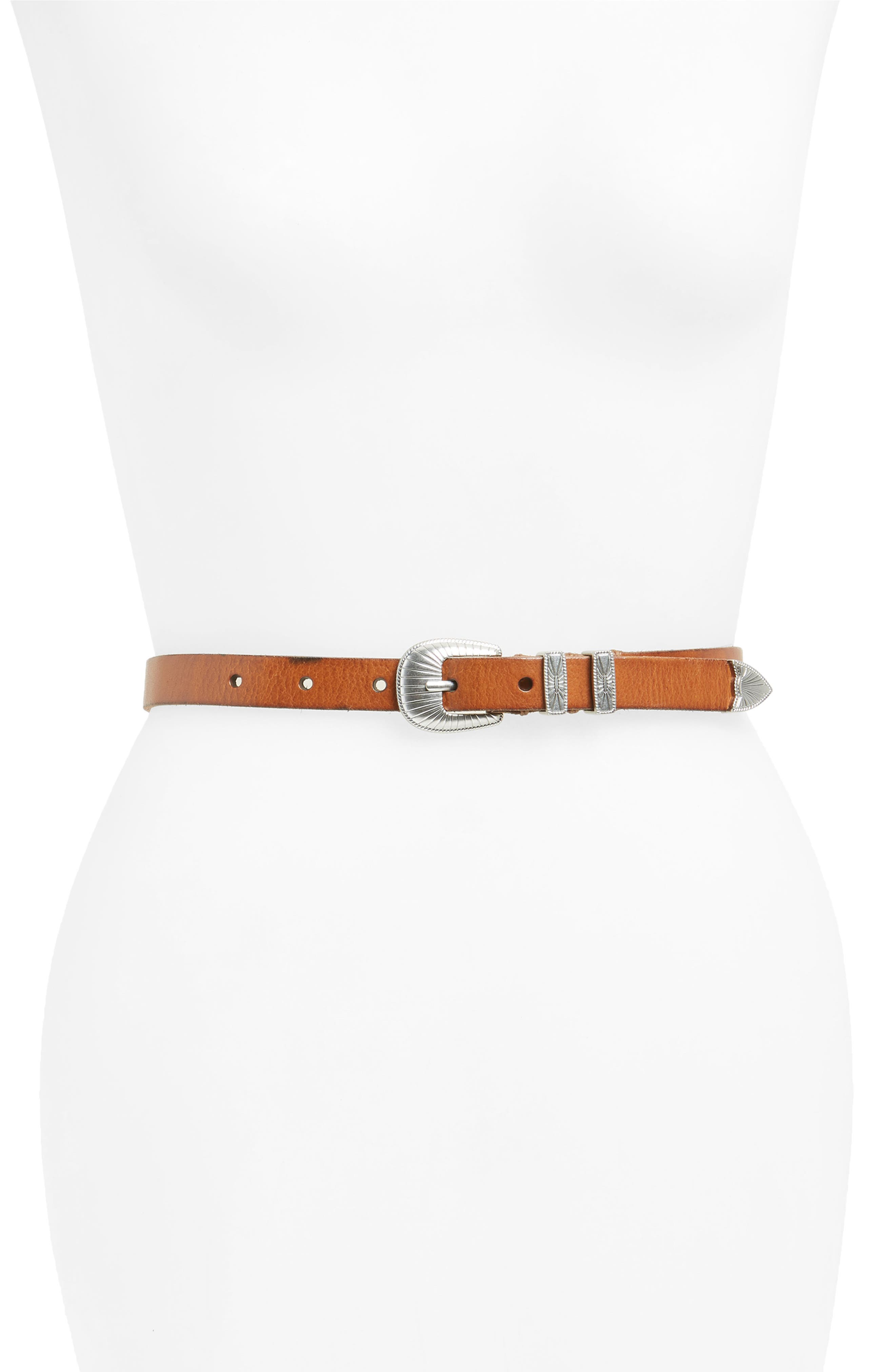 Frye Ellen Leather Belt, Corteccia