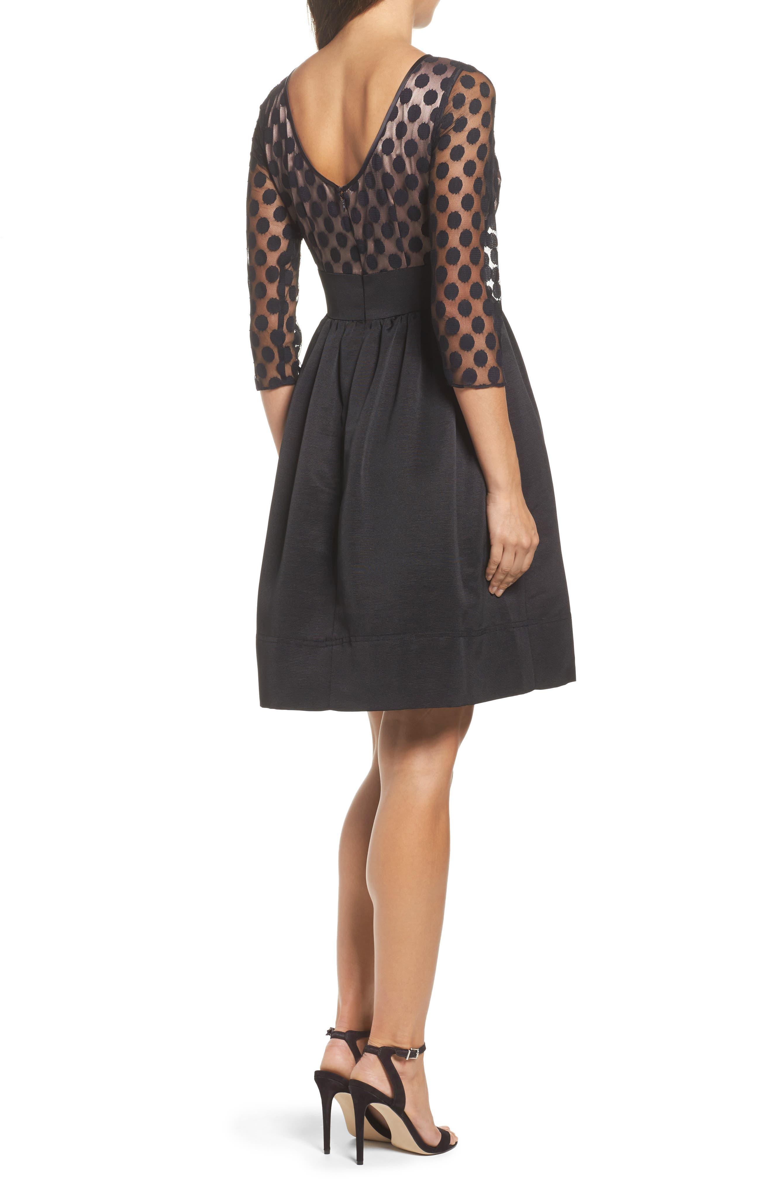 Dot Mesh Bodice Fit & Flare Dress,                             Alternate thumbnail 6, color,