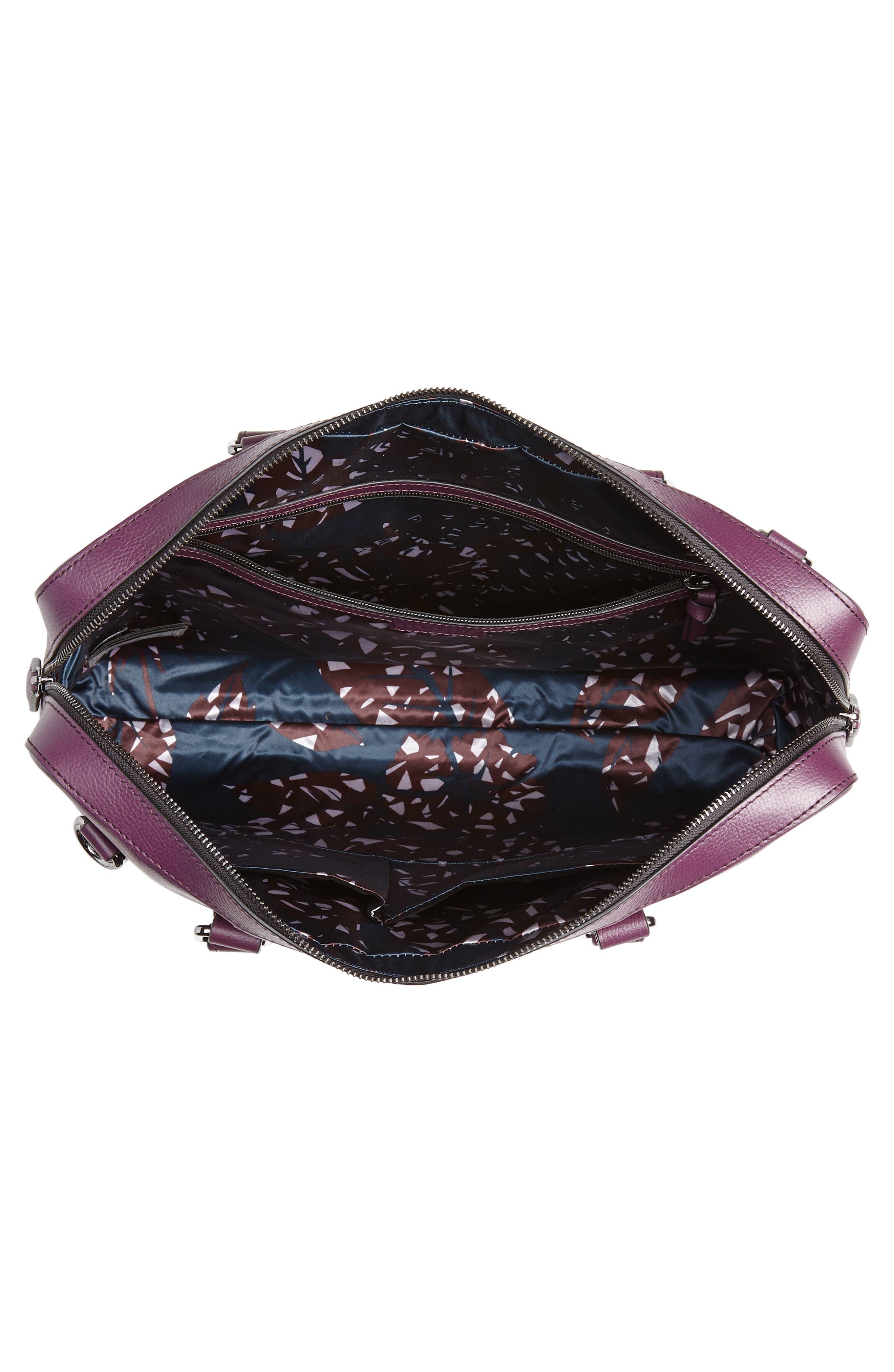 Hoooch Leather Briefcase,                             Alternate thumbnail 4, color,                             DEEP PURPLE