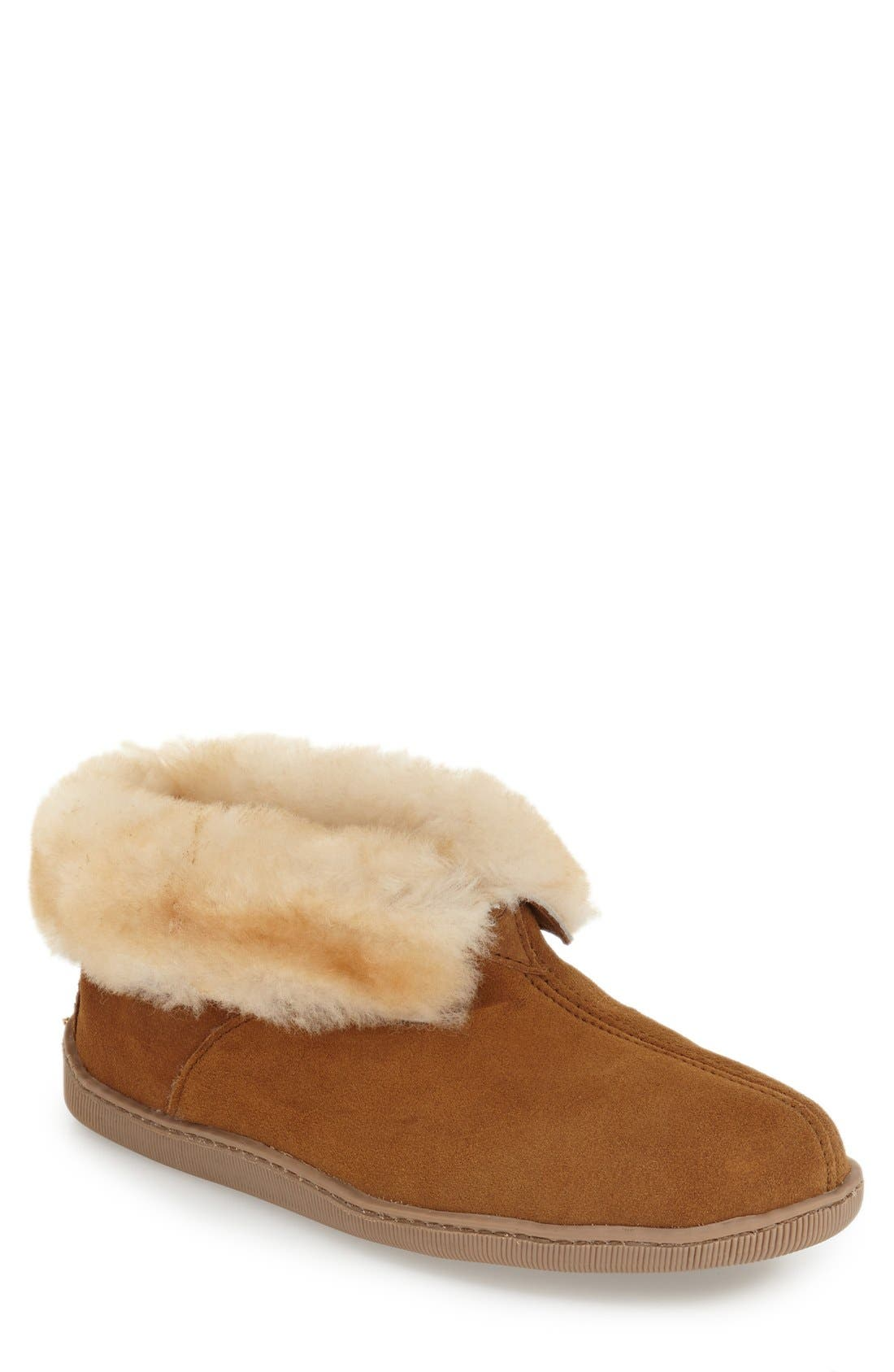 MINNETONKA Genuine Shearling Lined Ankle Boot, Main, color, GOLDEN TAN