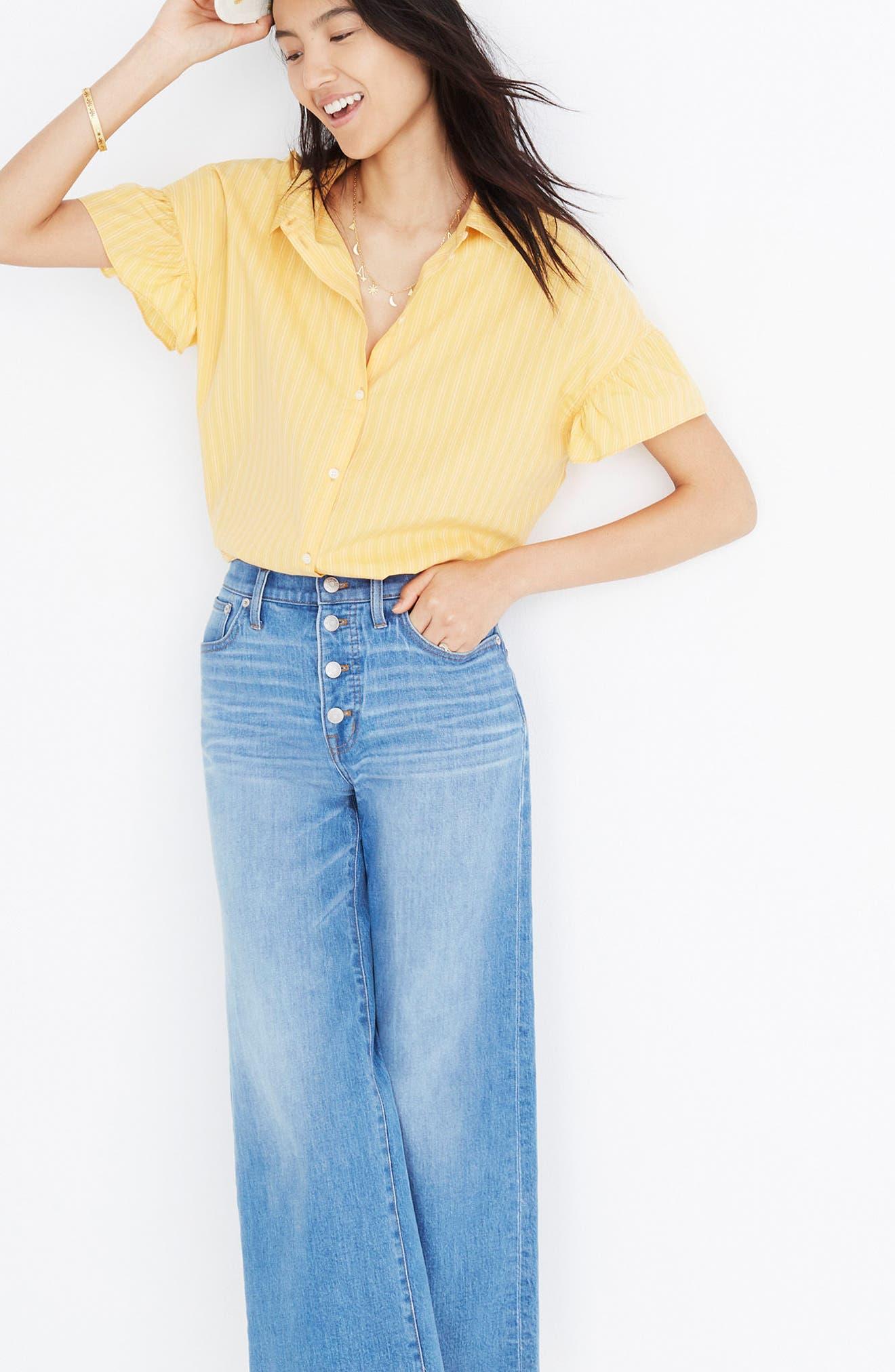 Central Stripe Ruffle Sleeve Shirt,                             Alternate thumbnail 3, color,                             700