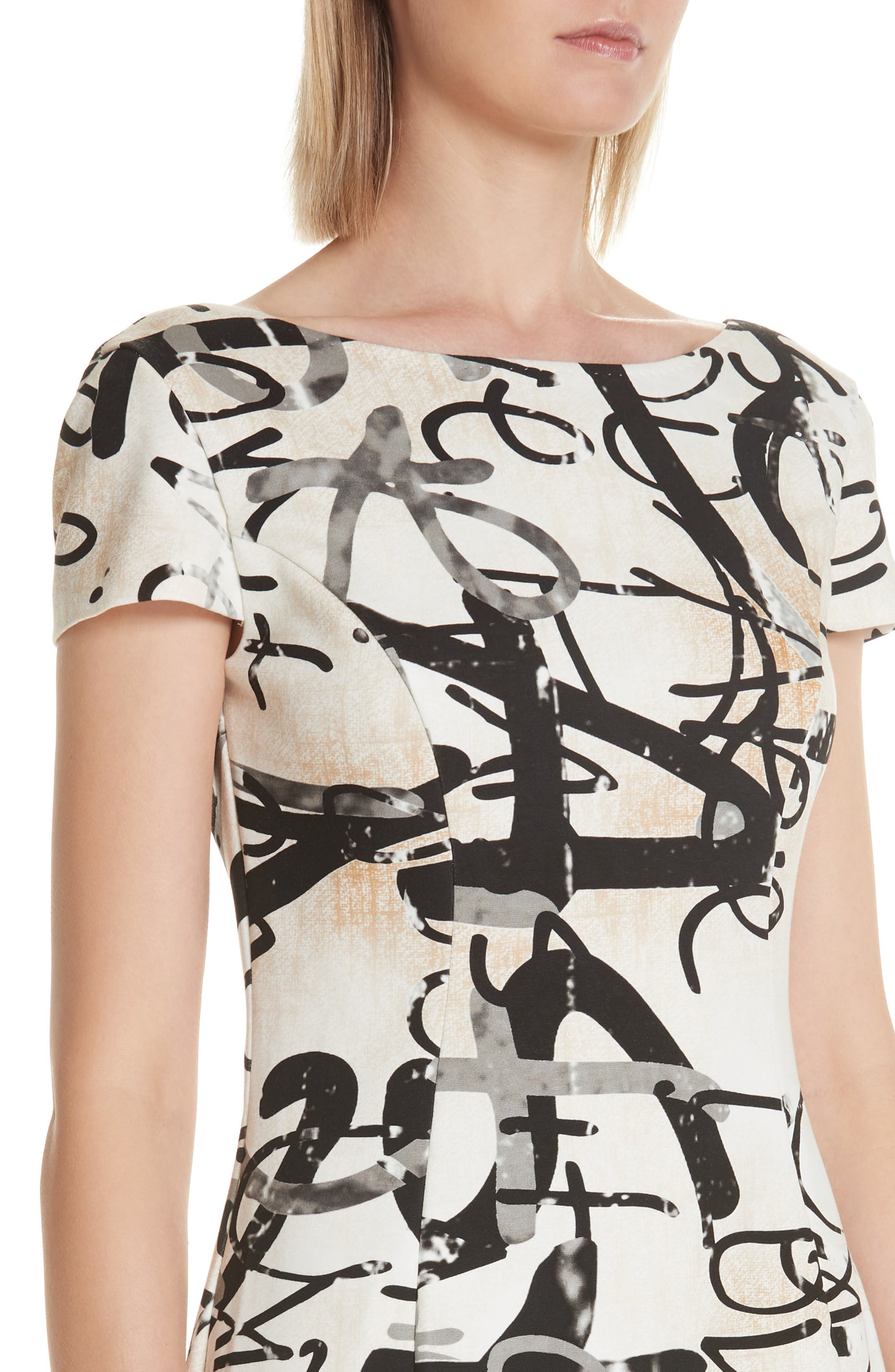 Alcali Scribble Print Sheath Dress,                             Alternate thumbnail 4, color,                             BEIGE