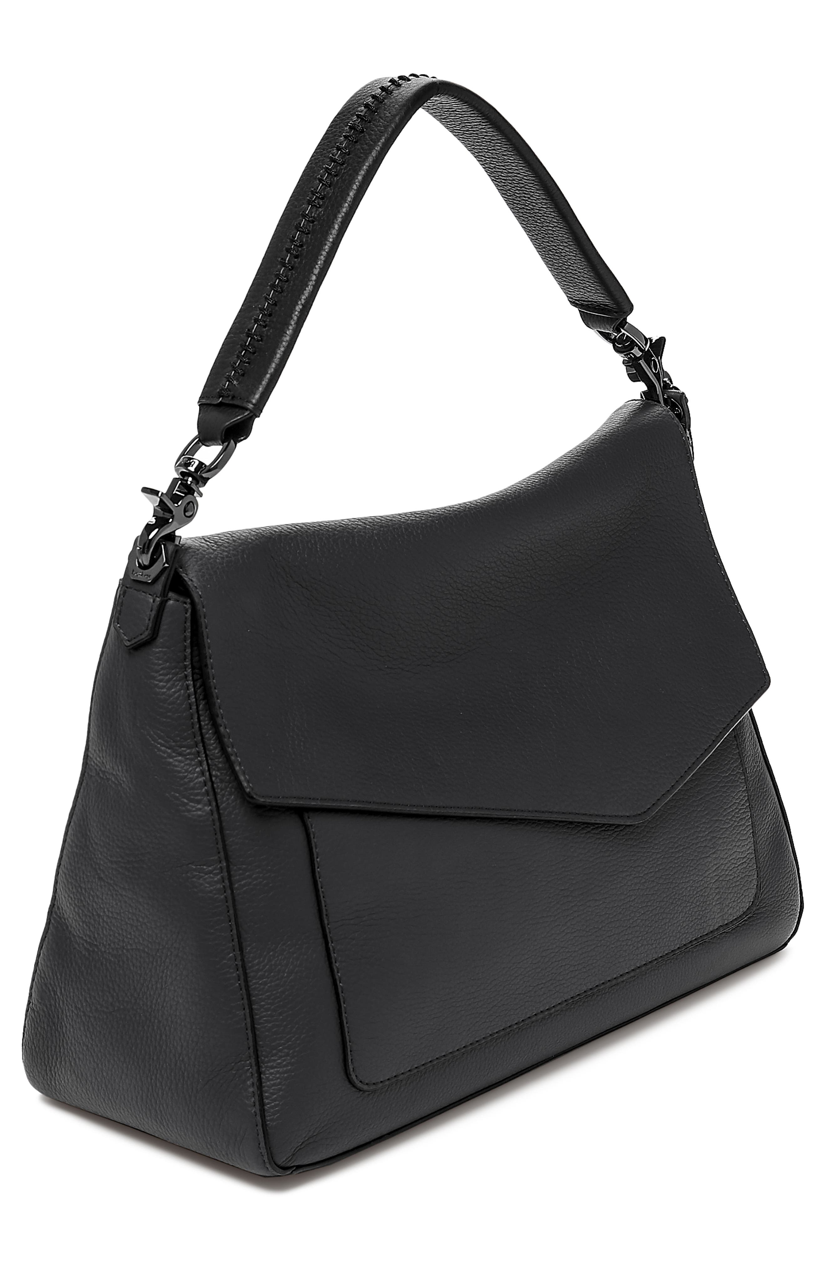 Cobble Hill Slouch Calfskin Leather Hobo,                             Alternate thumbnail 3, color,                             BLACK