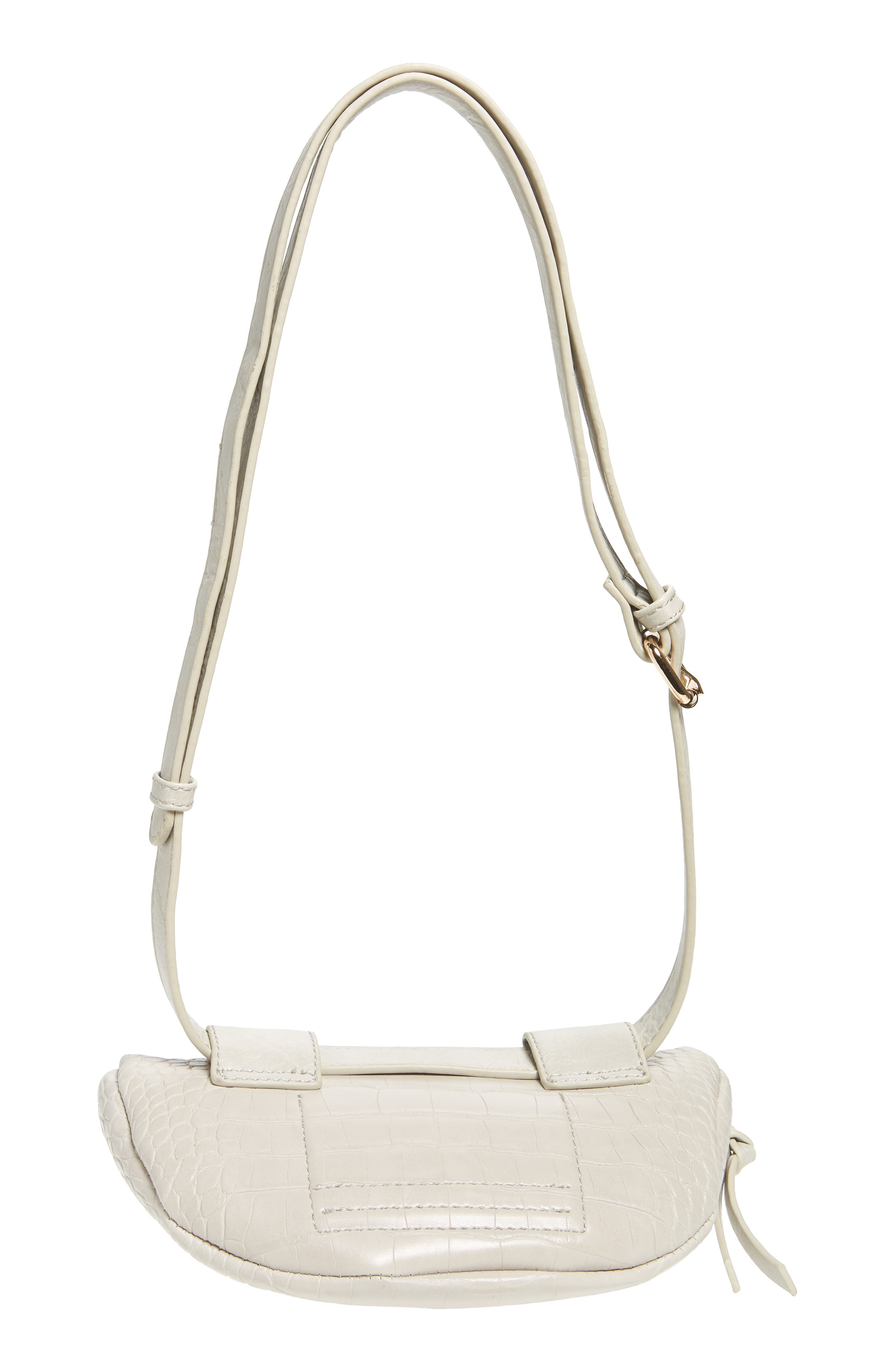 Embossed Faux Leather Belt Bag,                             Alternate thumbnail 7, color,                             IVORY