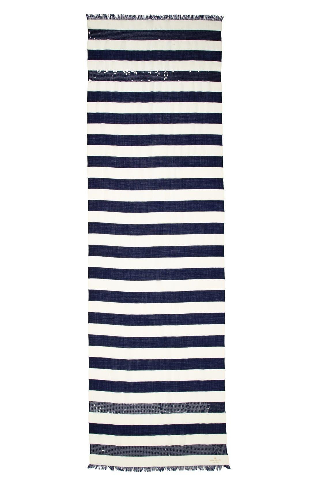 sequin embellished stripe scarf,                             Alternate thumbnail 2, color,                             400