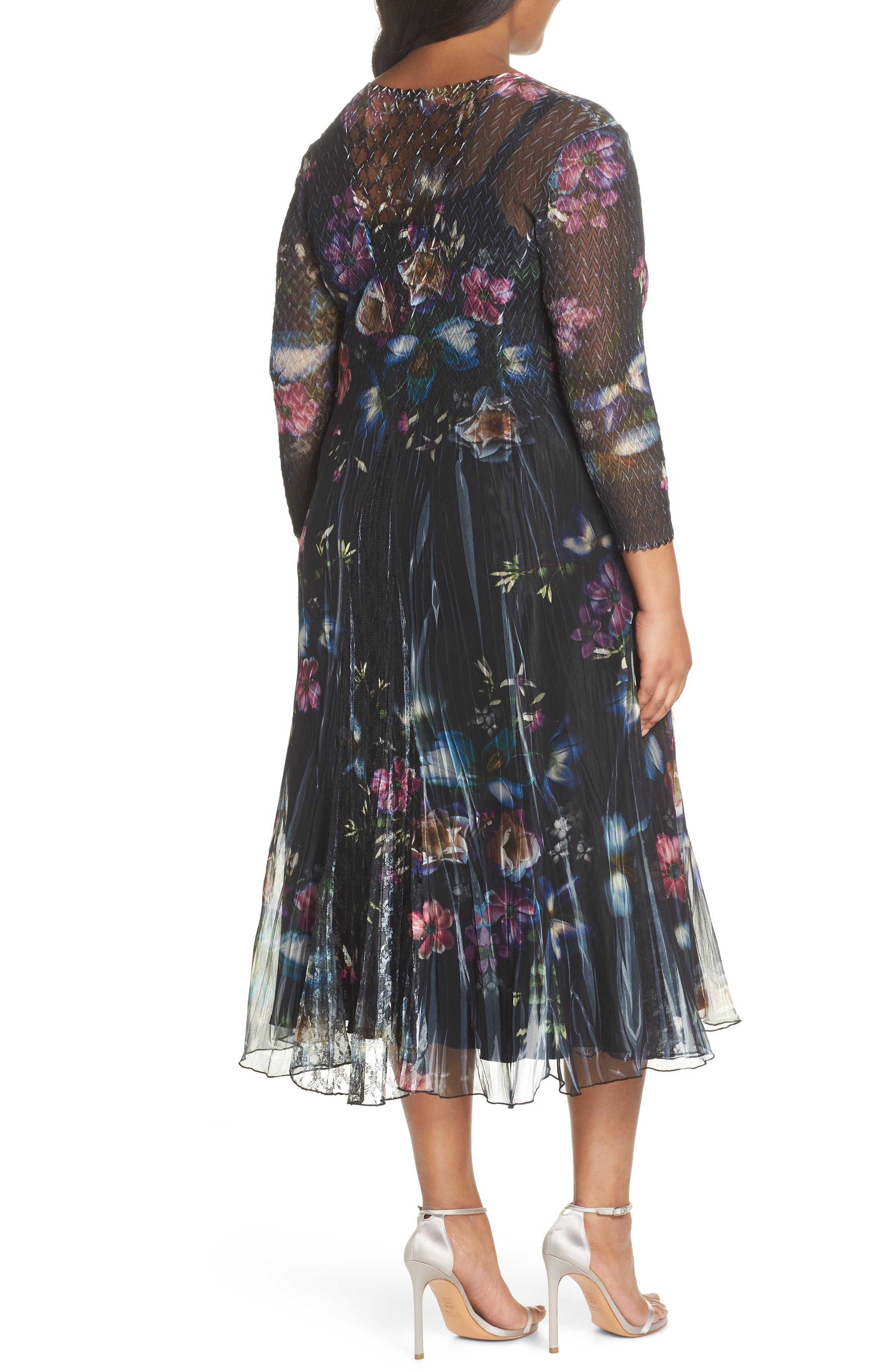 Lace Trim Floral Midi Dress,                             Alternate thumbnail 2, color,                             001