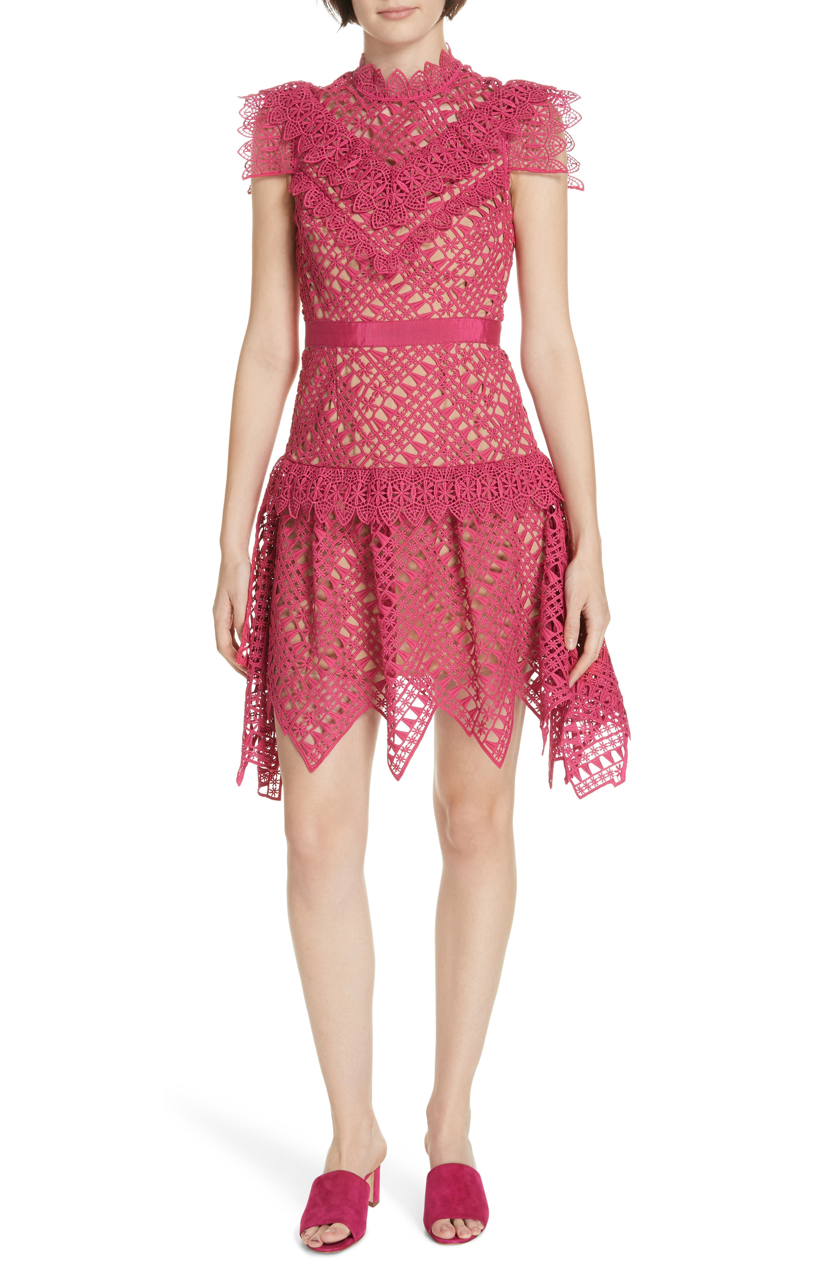 Lace Handkerchief Hem Minidress,                             Main thumbnail 1, color,                             FUSCHIA