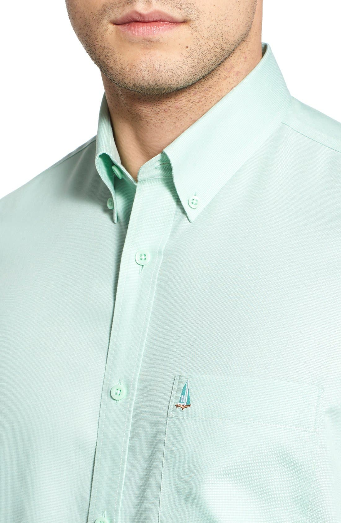 'Classic' Smartcare<sup>™</sup> Regular Fit Short Sleeve Cotton Sport Shirt,                             Alternate thumbnail 49, color,