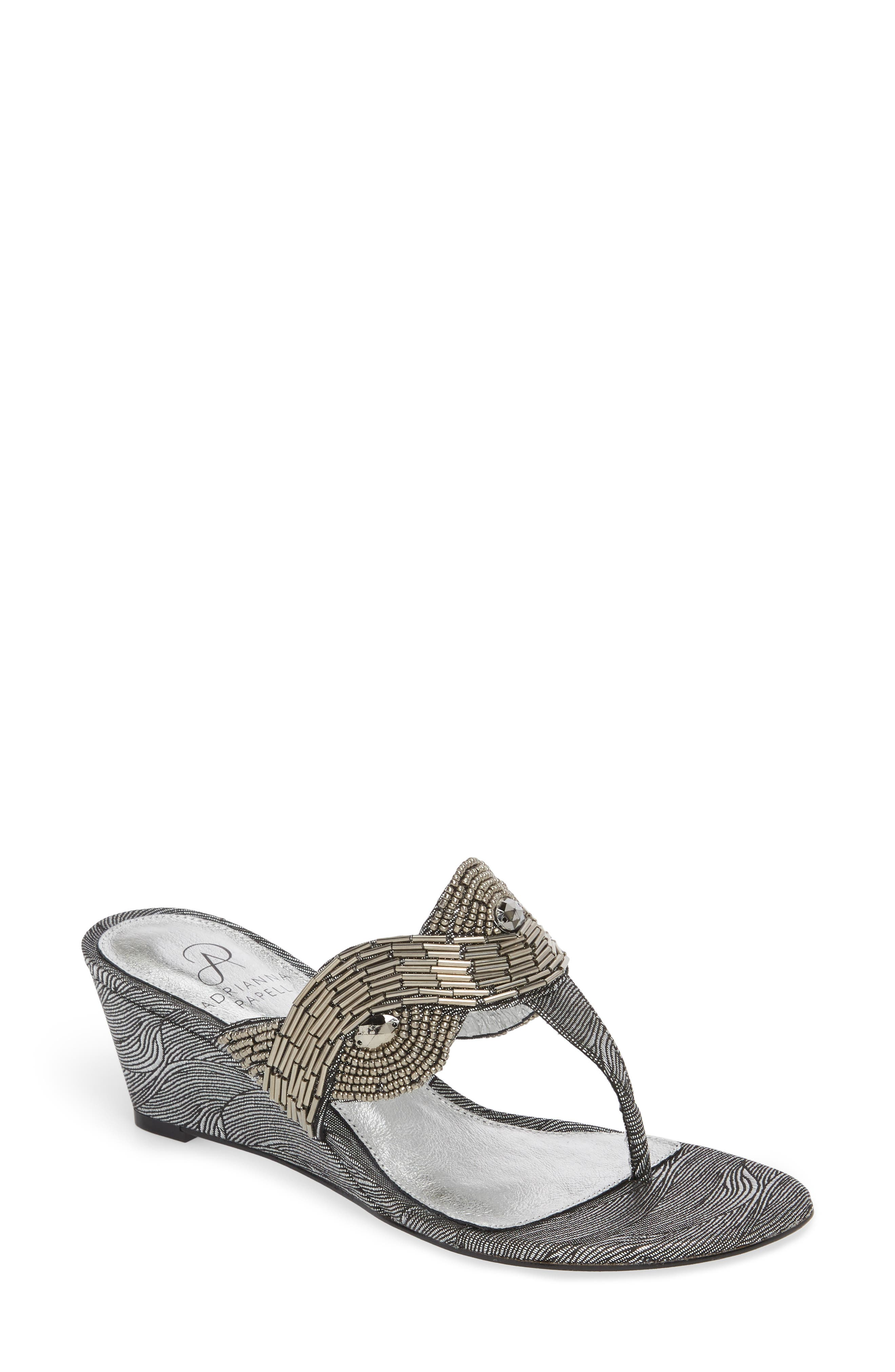 ADRIANNA PAPELL,                             Coco Beaded Wedge Sandal,                             Main thumbnail 1, color,                             049
