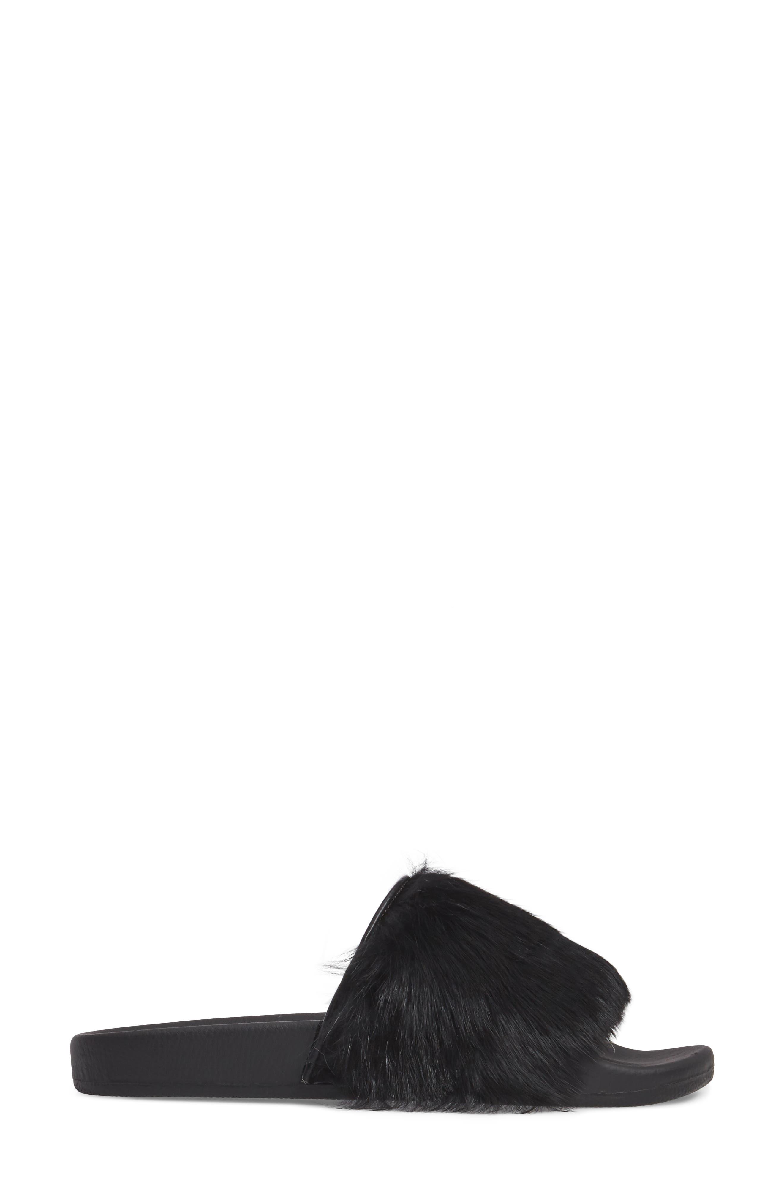 Sammi Genuine Fur Slide Sandal,                             Alternate thumbnail 3, color,                             001