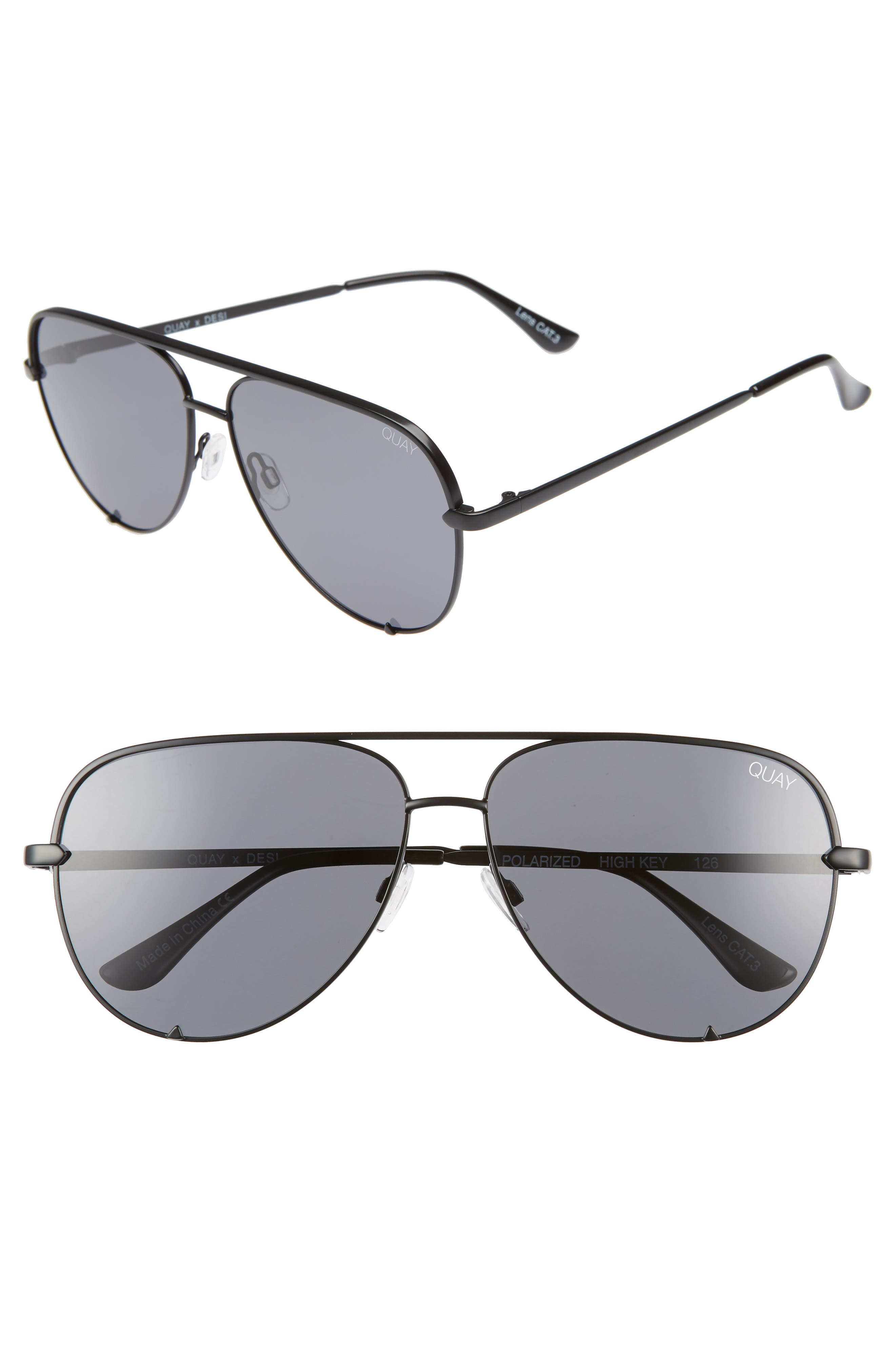 4230ff85d73 Quay Australia X Desi Perkins High Key 62Mm Aviator Sunglasses - Black   Smoke