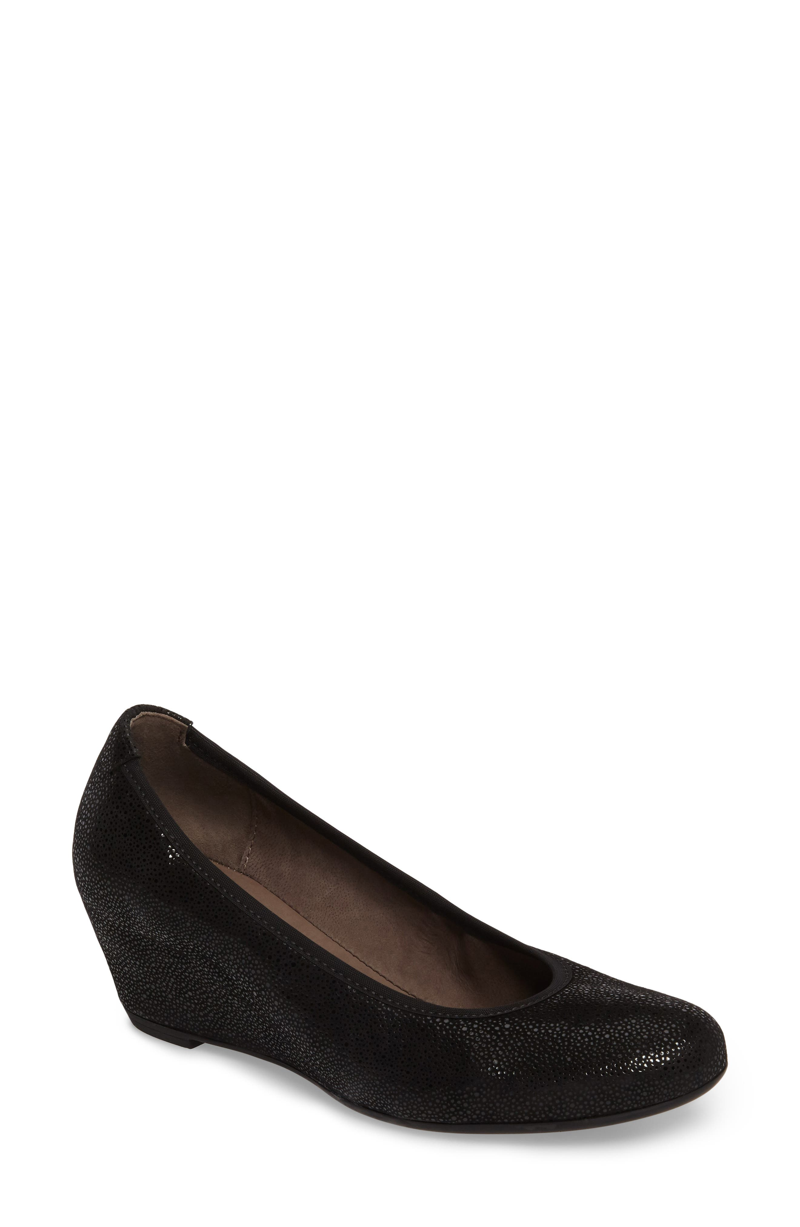 Wedge Pump,                         Main,                         color, BLACK GLITTER LEATHER 2