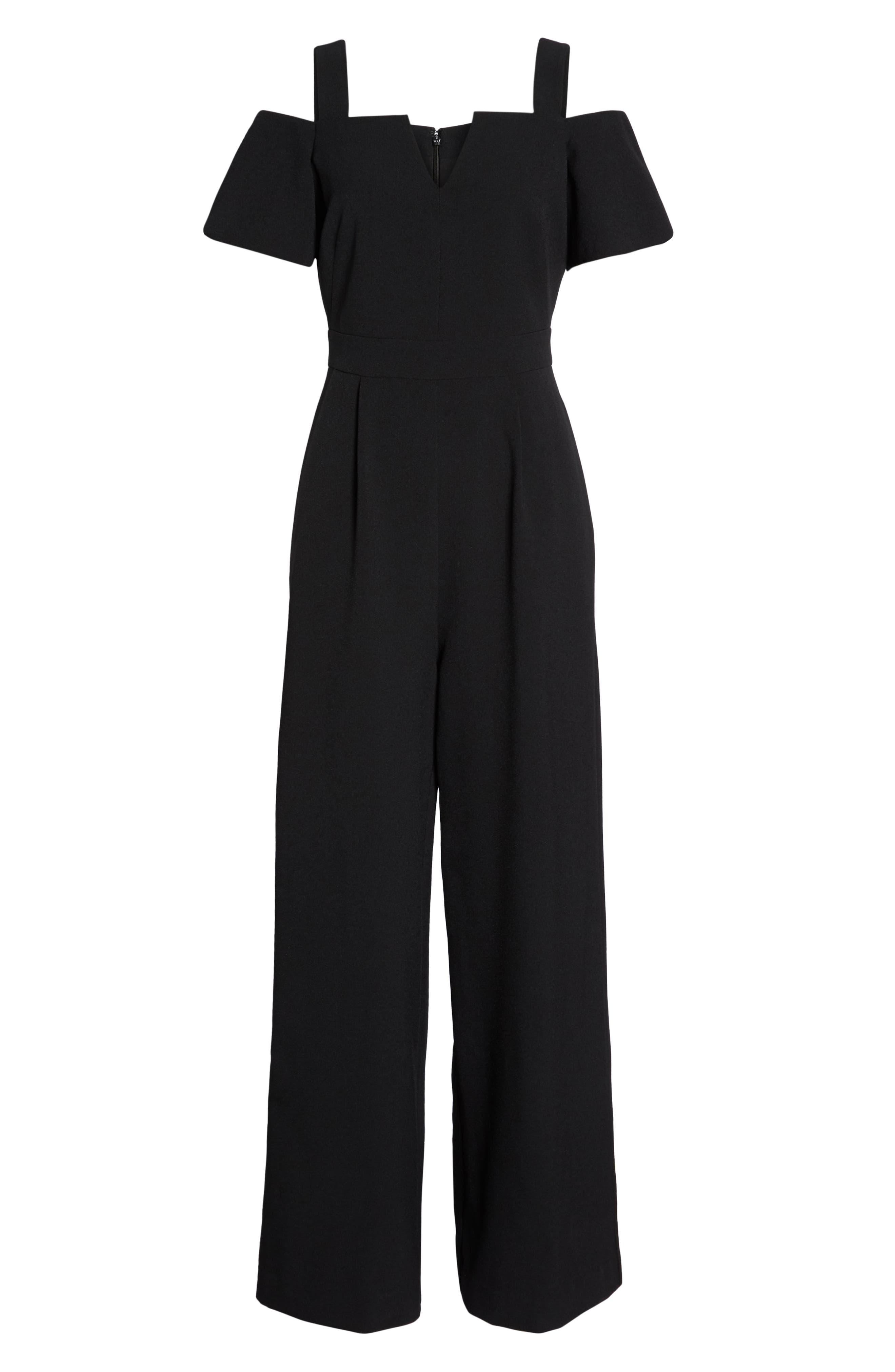 Cold Shoulder V-Neck Jumpsuit,                             Alternate thumbnail 7, color,                             BLACK