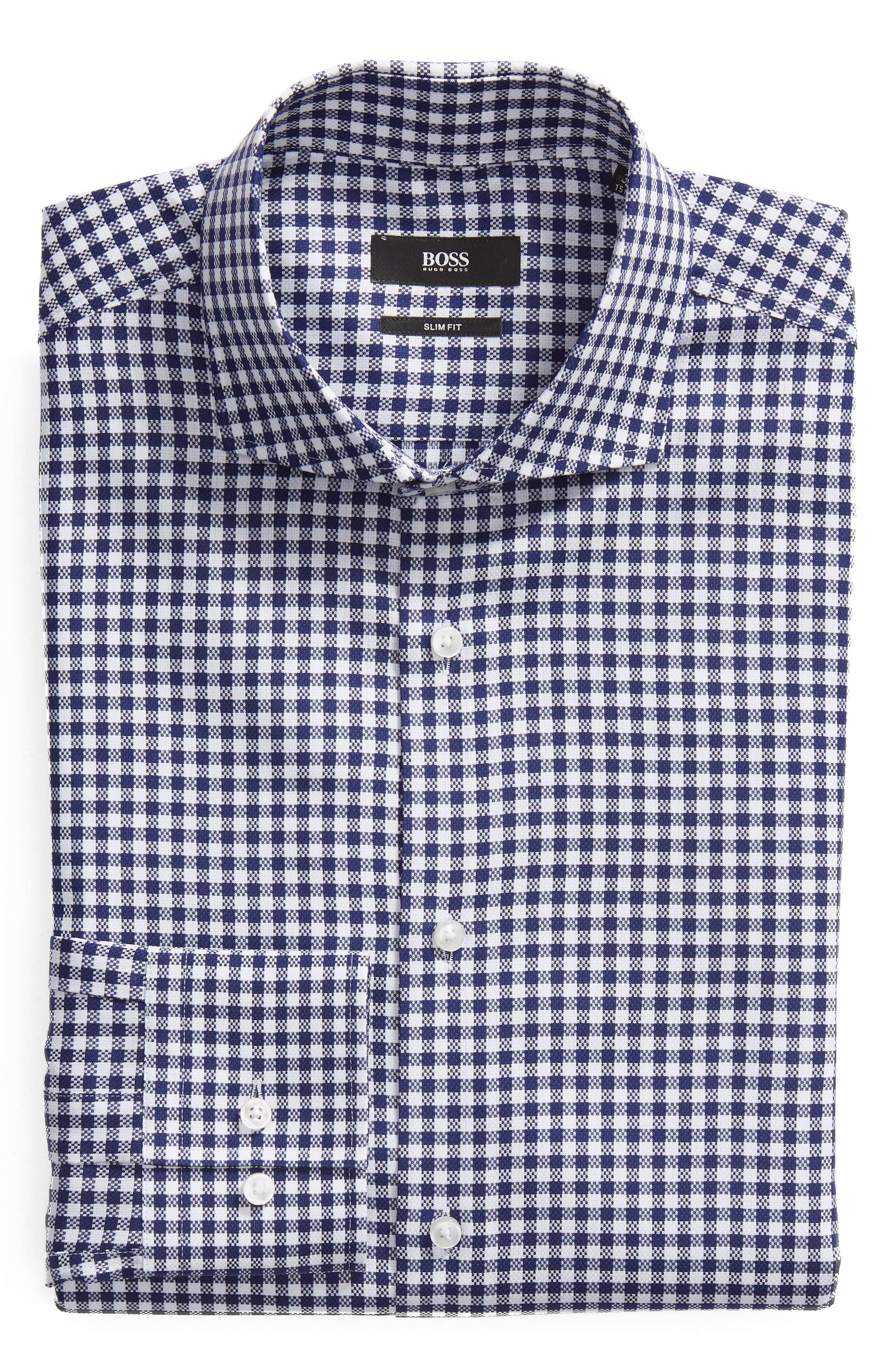 Jason Slim Fit Check Dress Shirt,                             Alternate thumbnail 5, color,                             NAVY