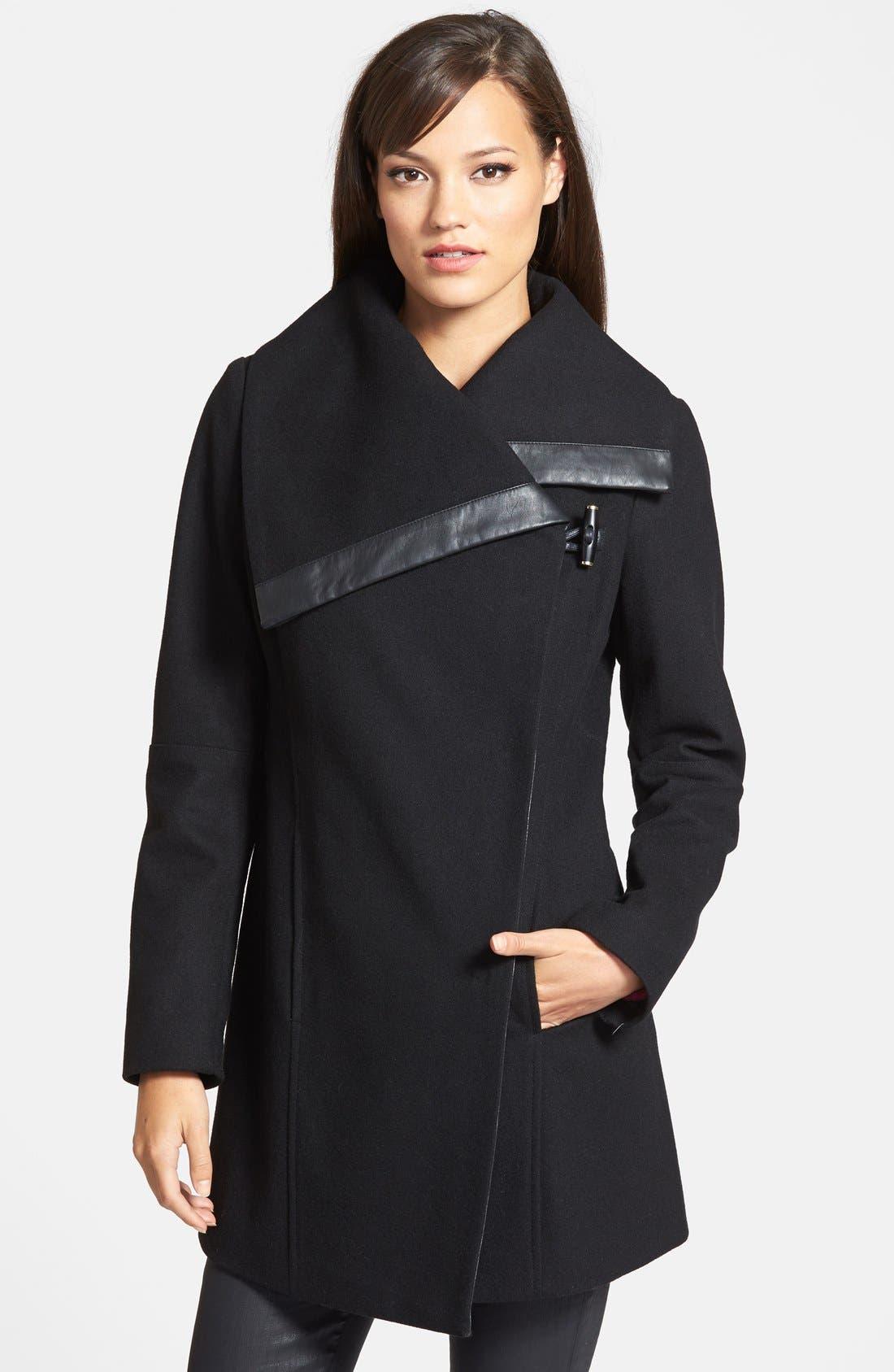 SAM EDELMAN 'Fallon' Faux Leather Trim Asymmetrical Wool Blend Coat, Main, color, 001