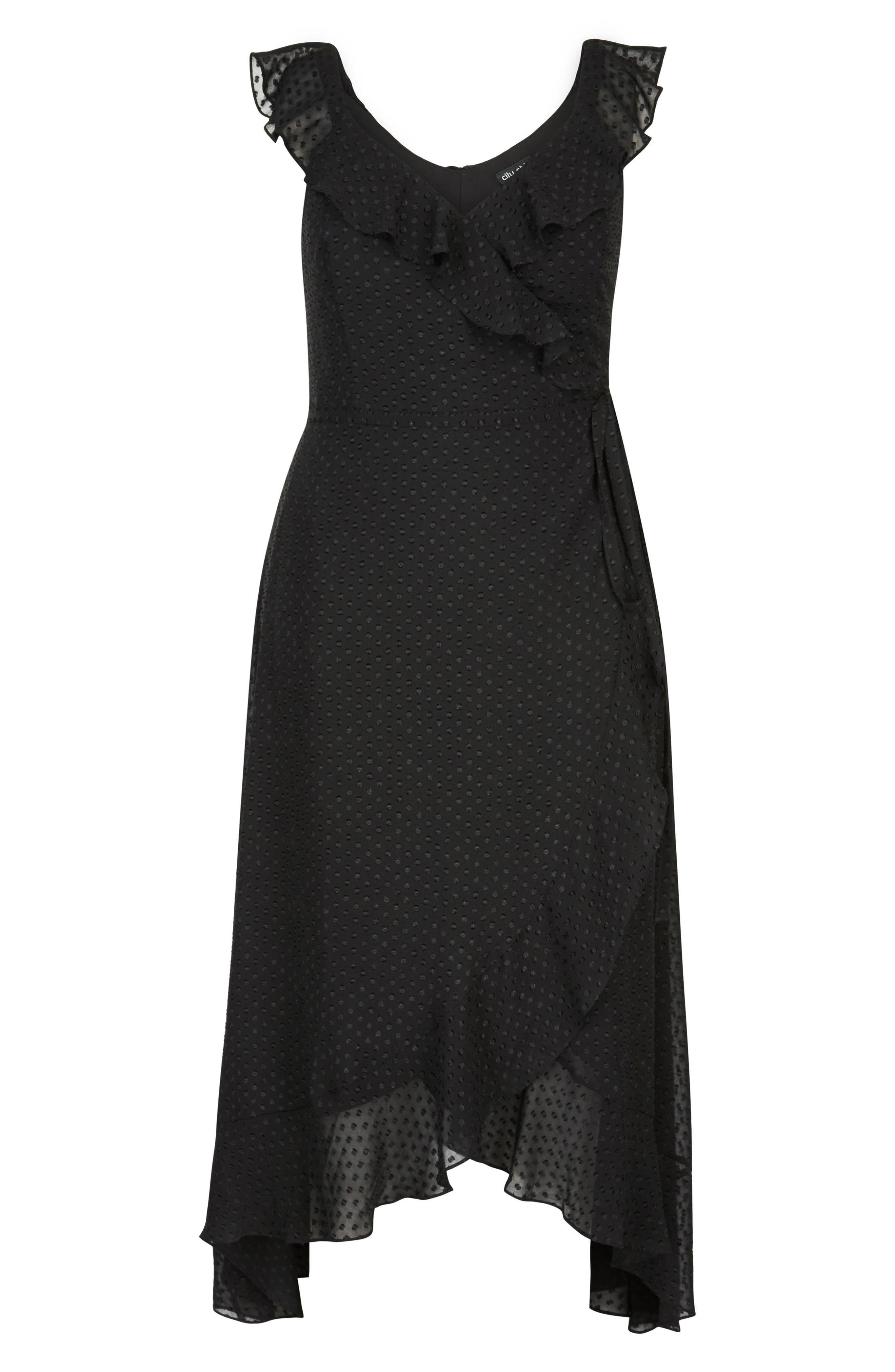 Dot Fil Coupé Ruffle Maxi Dress,                             Alternate thumbnail 3, color,                             BLACK