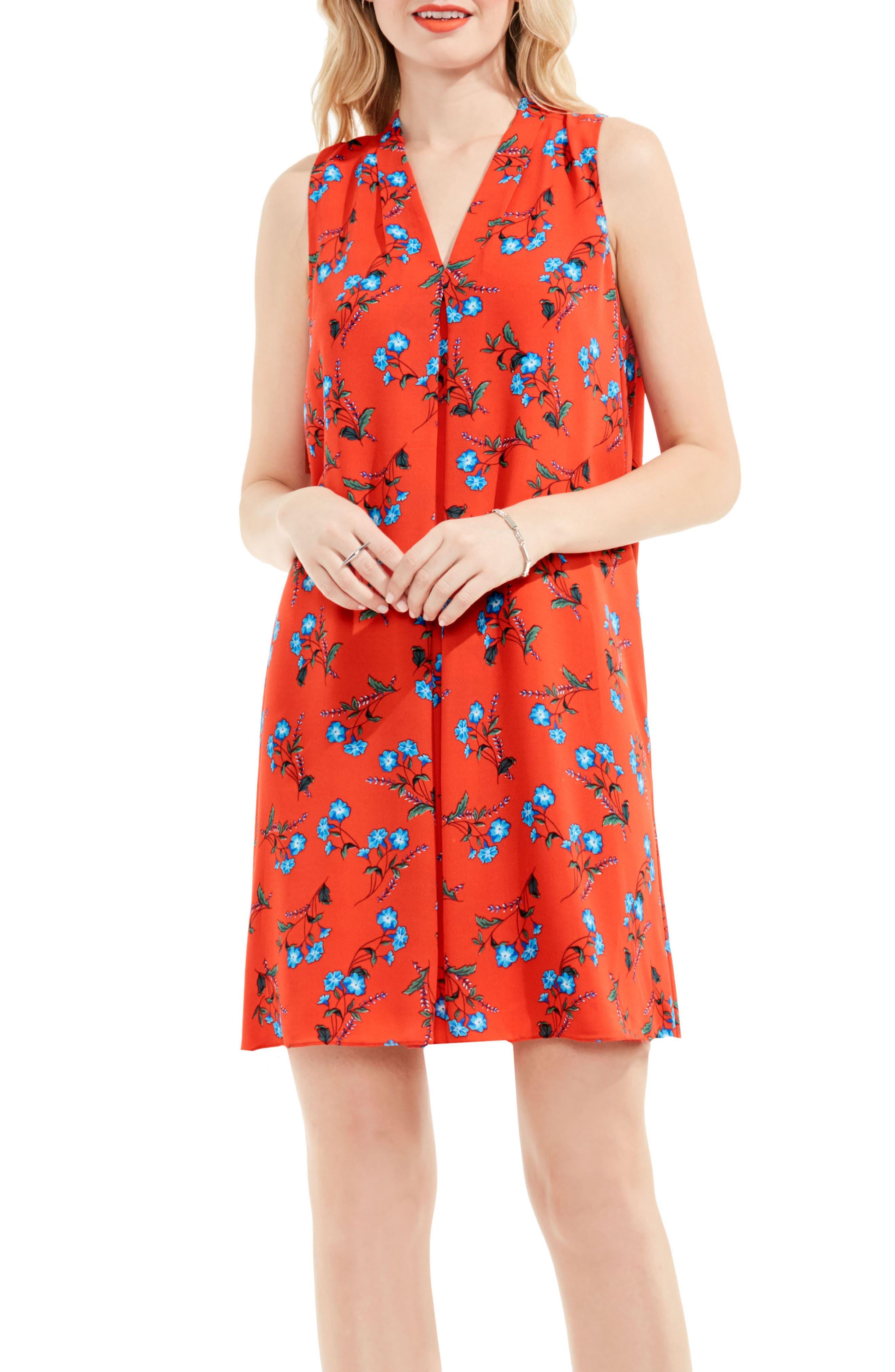 Tropic Spritz Invert Pleat A-Line Dress,                             Main thumbnail 1, color,                             602