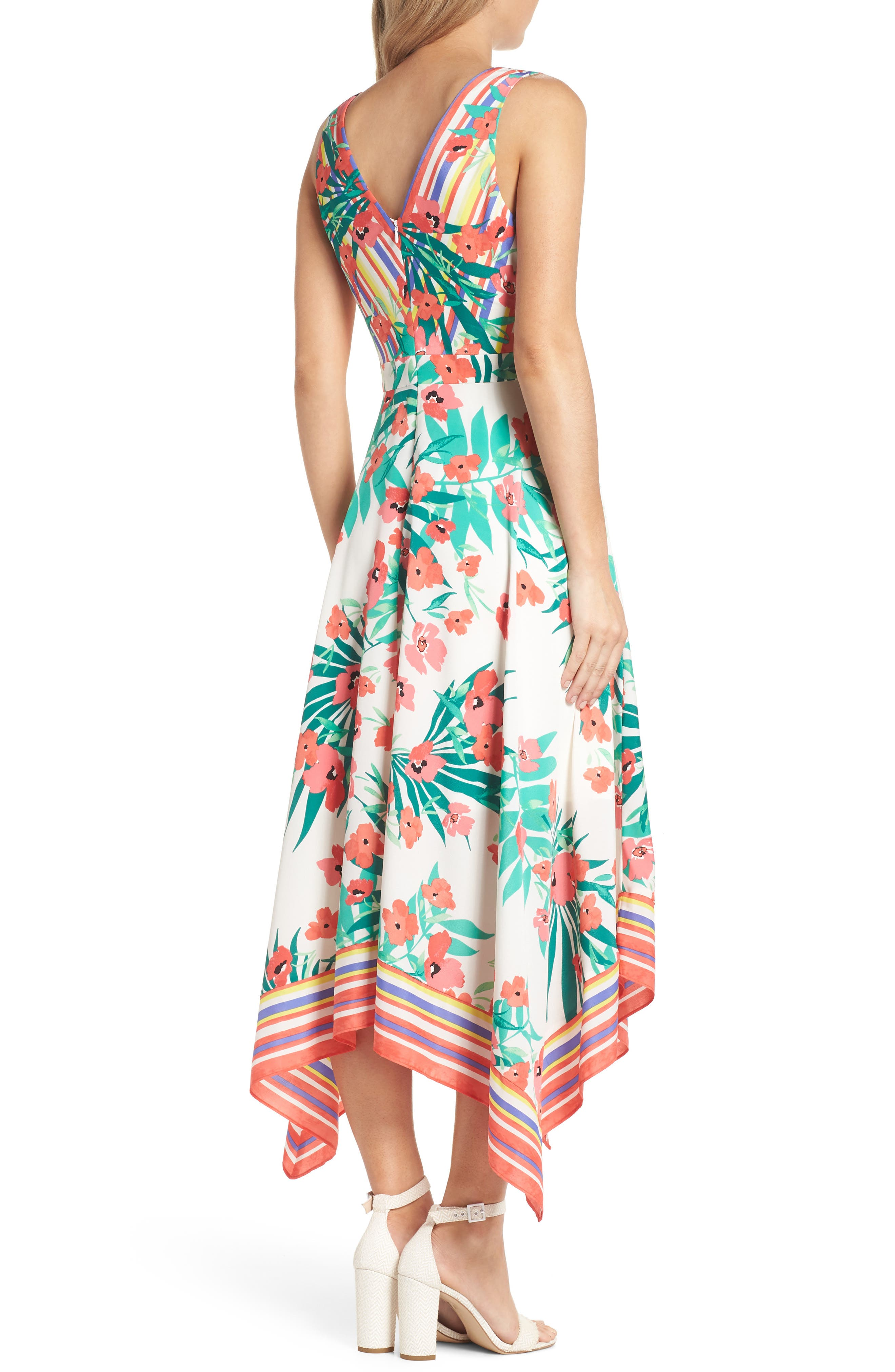 Print Handkerchief Hem Dress,                             Alternate thumbnail 2, color,                             901