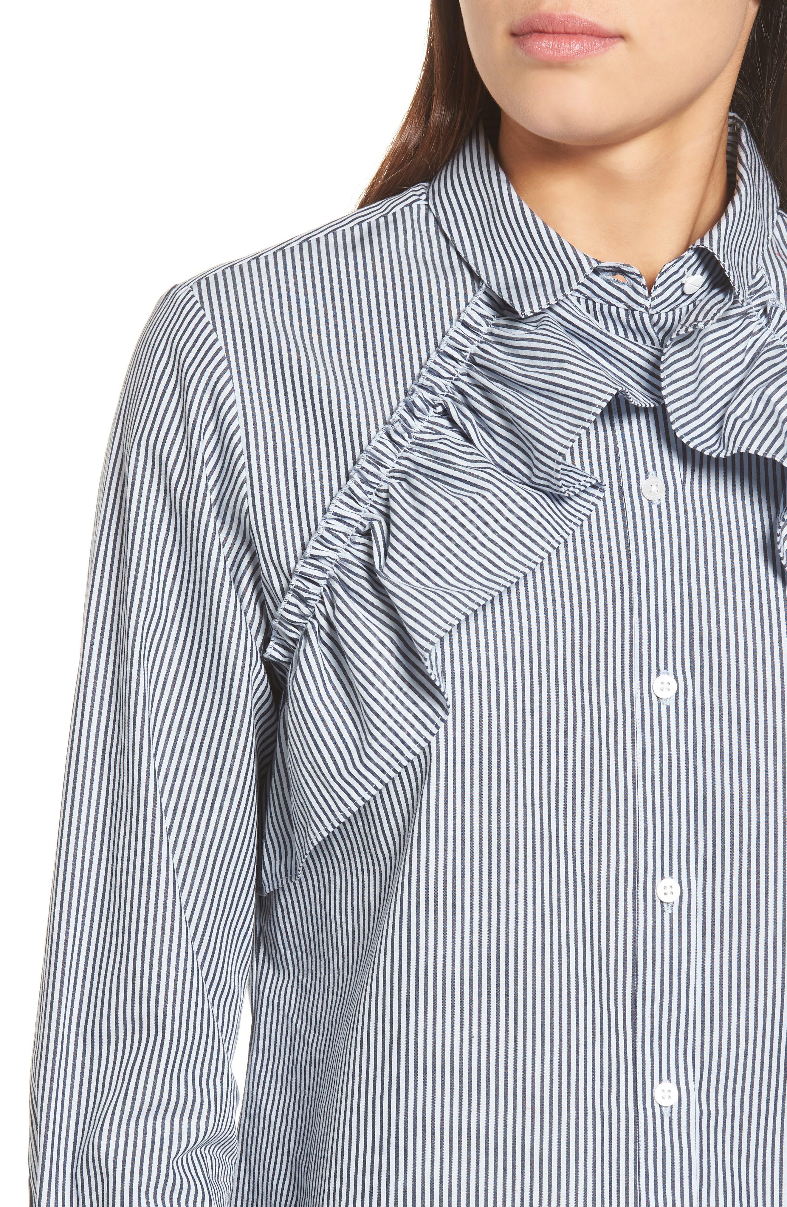 Ruffle Poplin Shirt,                             Alternate thumbnail 4, color,                             460